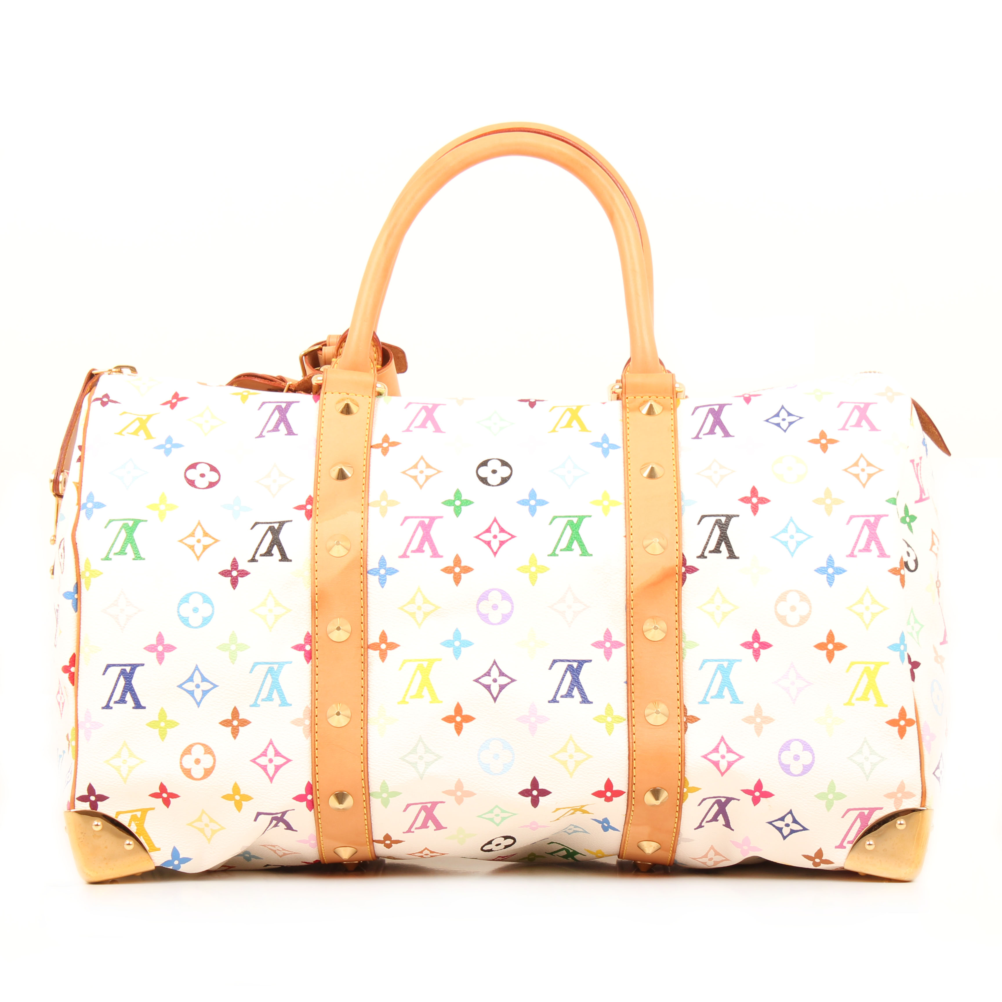 louis vuitton keepall murakami 45 monogram multicolor white travel bag back