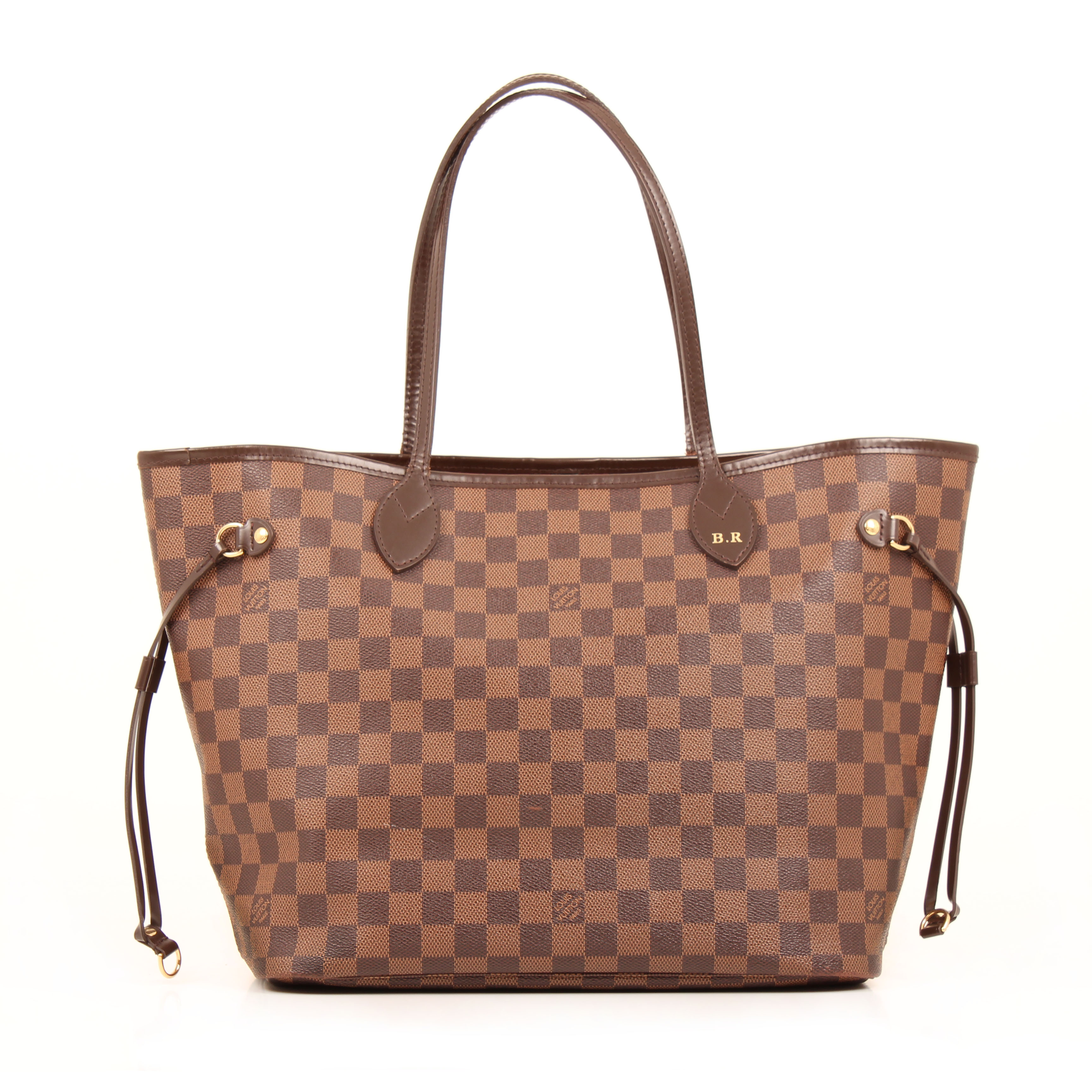 shoulder bag louis vuitton neverfull mm damier ebene front