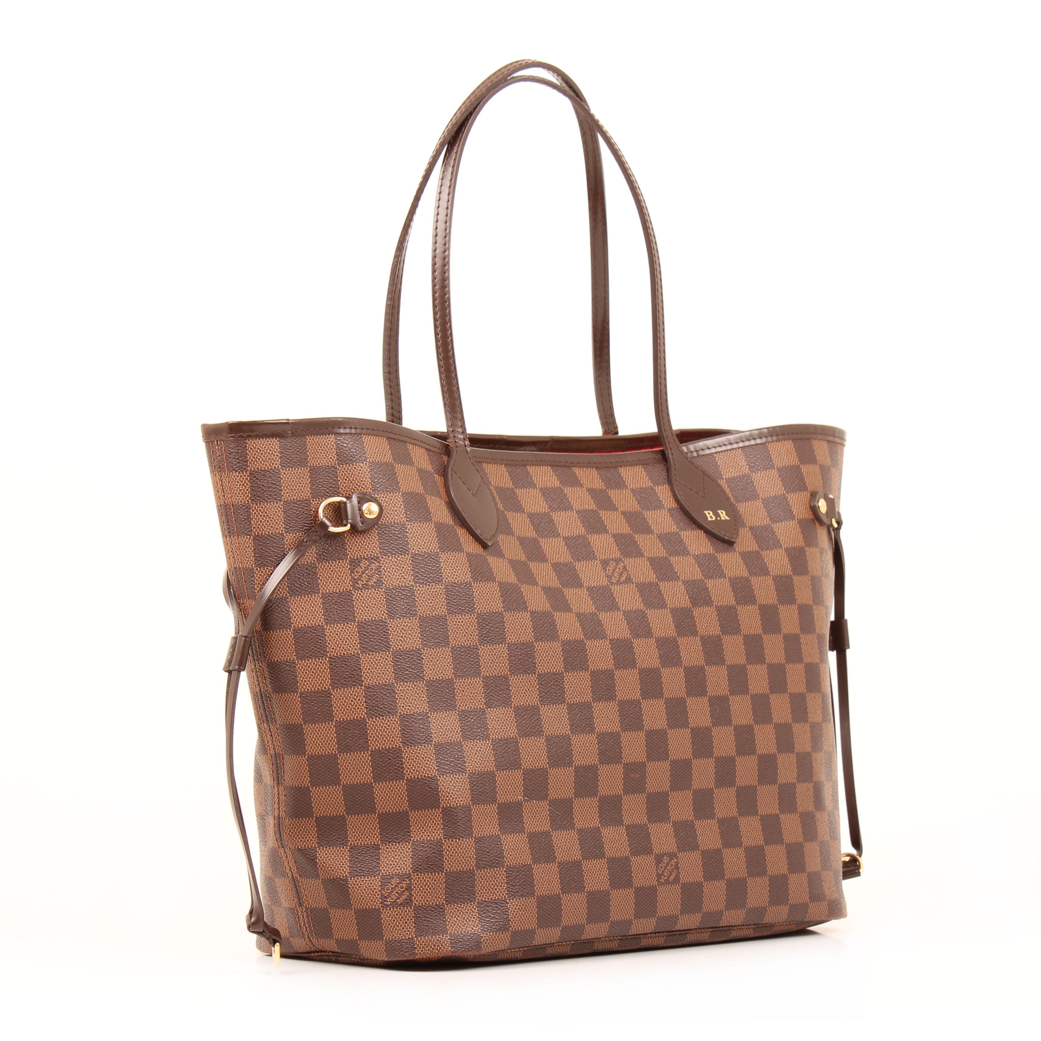 d609a2fd5 Bolso Louis Vuitton Neverfull MM Damier Ébène con Iniciales I CBL Bags