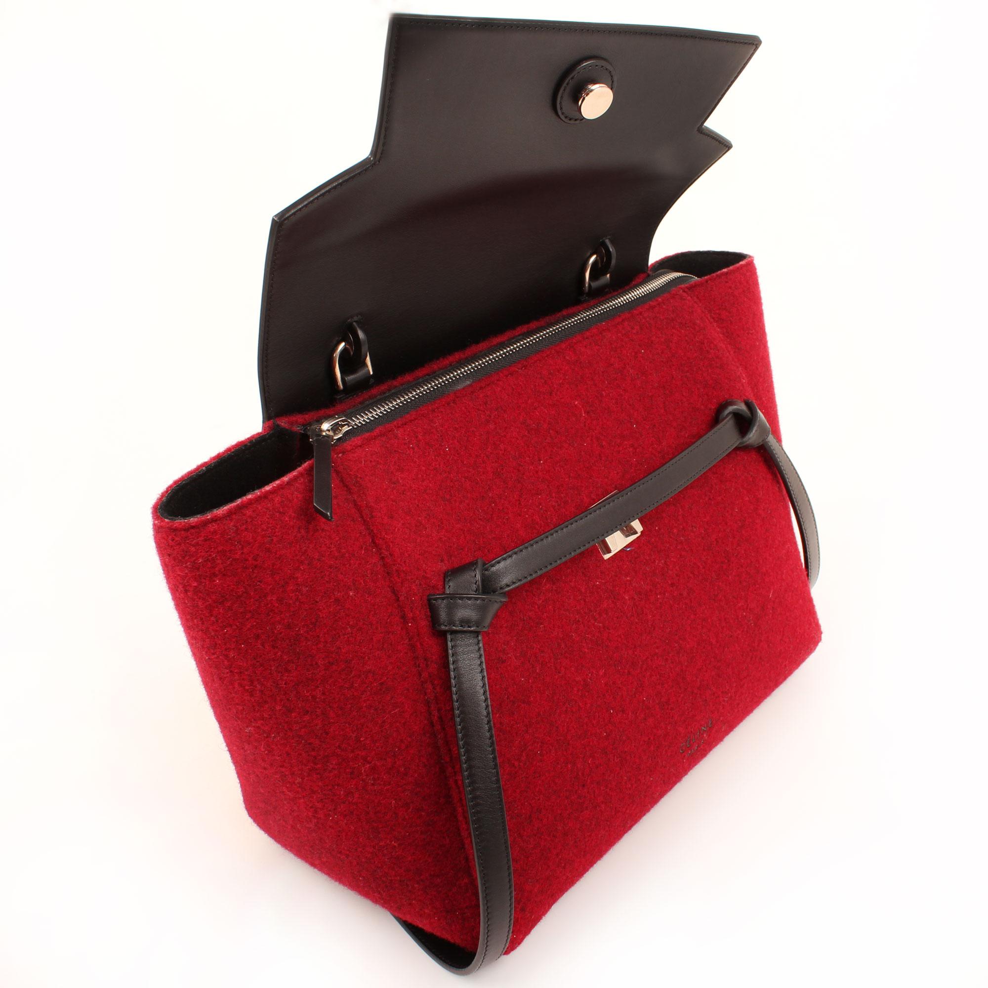 Open image of celine belt felp leather burgundy and black