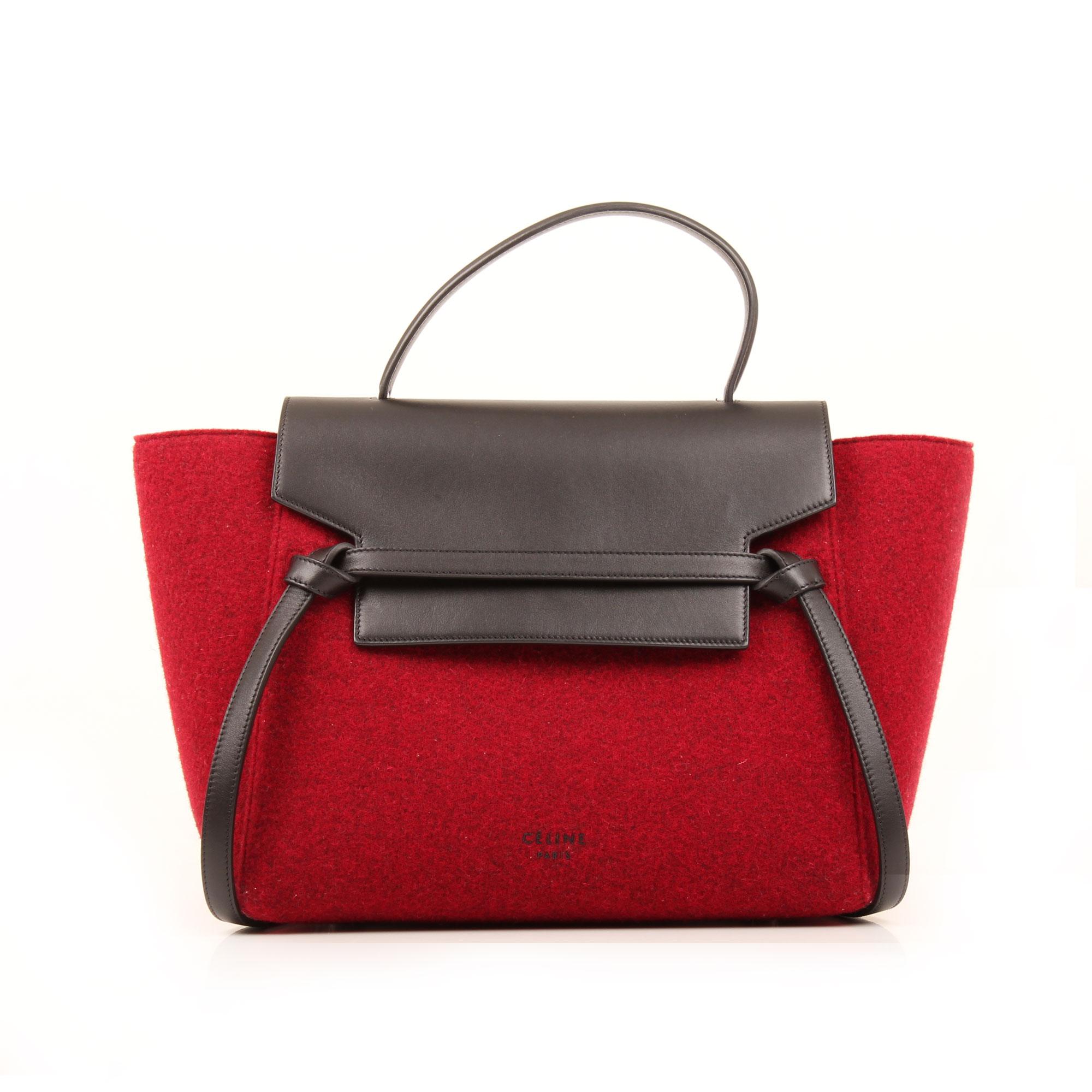 Front image of celine belt felp leather burgundy and black