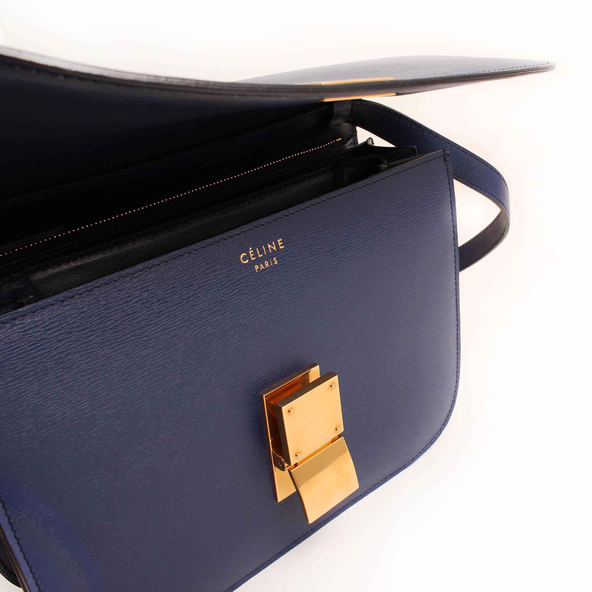 Imagen del bolso abierto del bolso celine box bag azul