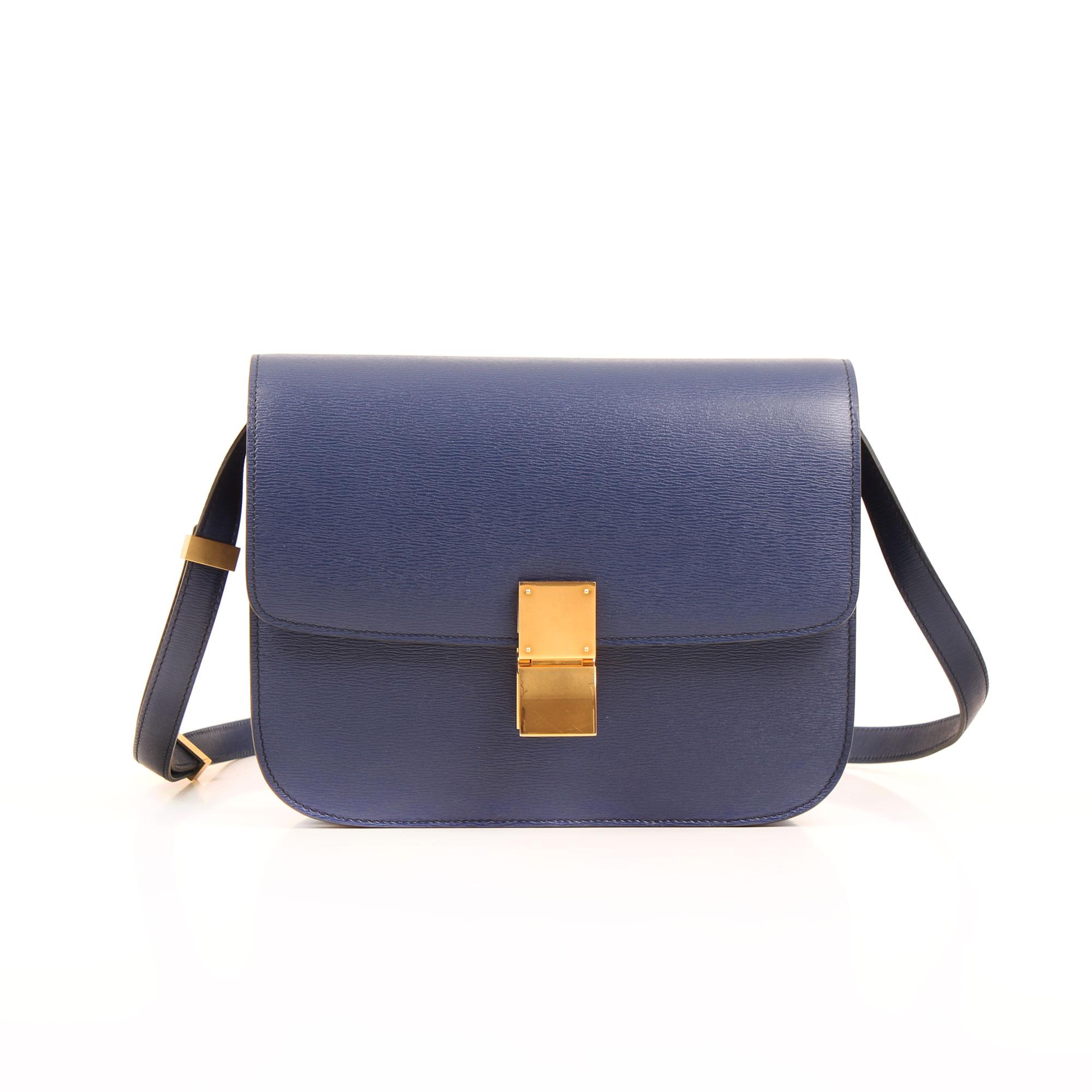 Imagen frontal bolso celine box bag azul