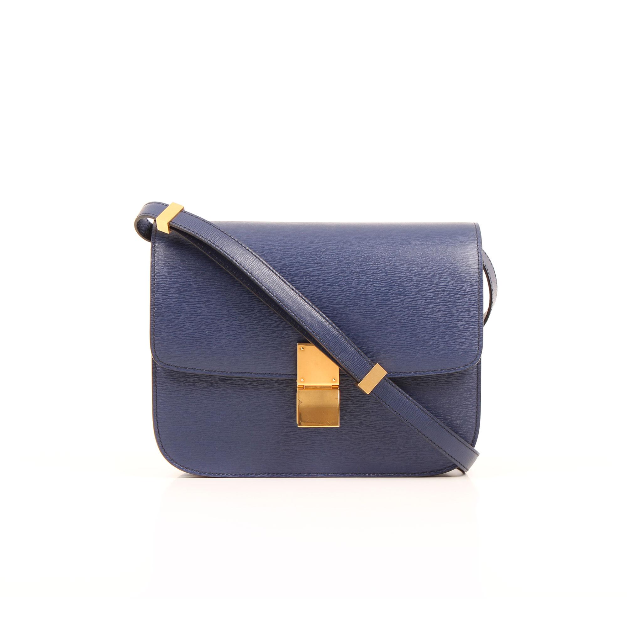 Imagen frontal del bolso celine box bag azul