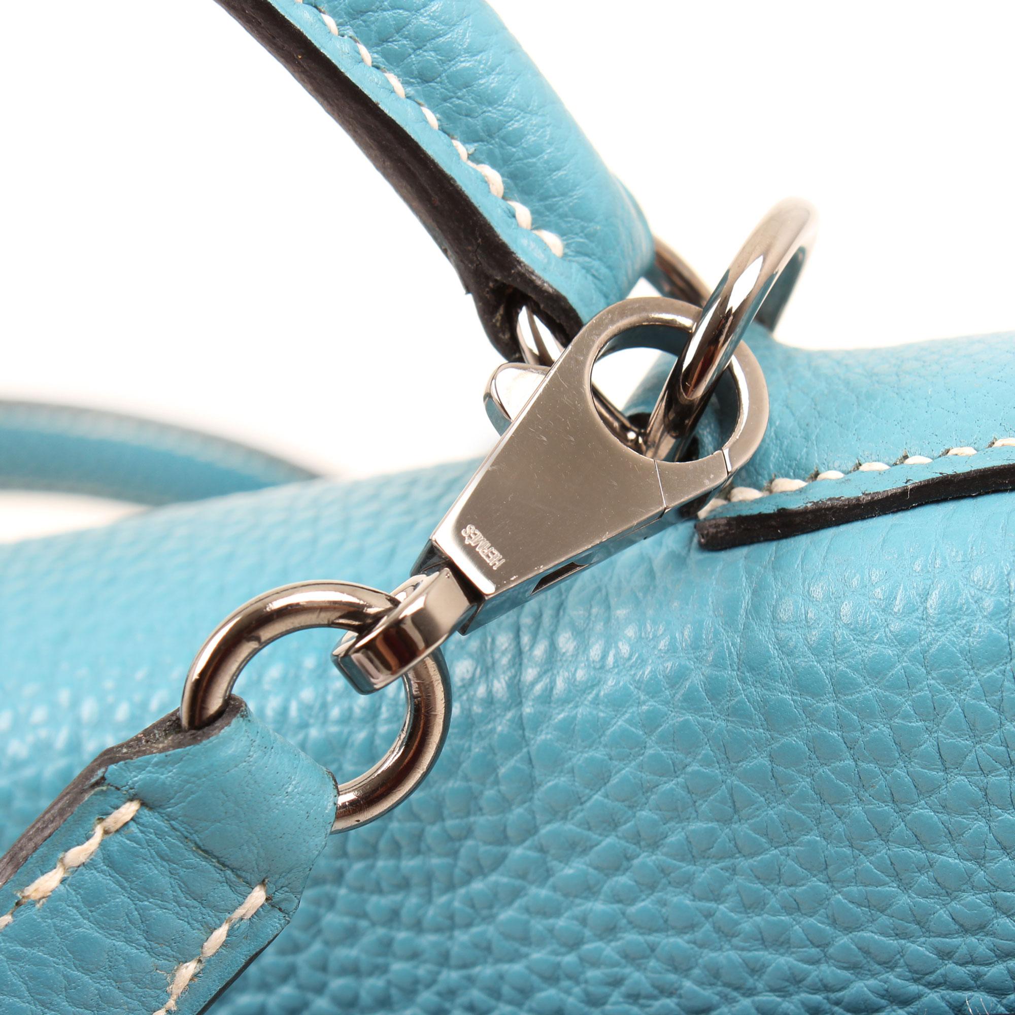 Hardware image of hermes kelly 32 blue jean retourne fjord leather bag