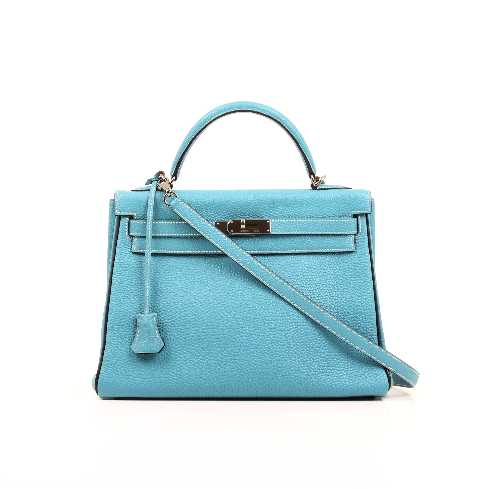 Front image of hermes kelly 32 blue jean retourne fjord bag