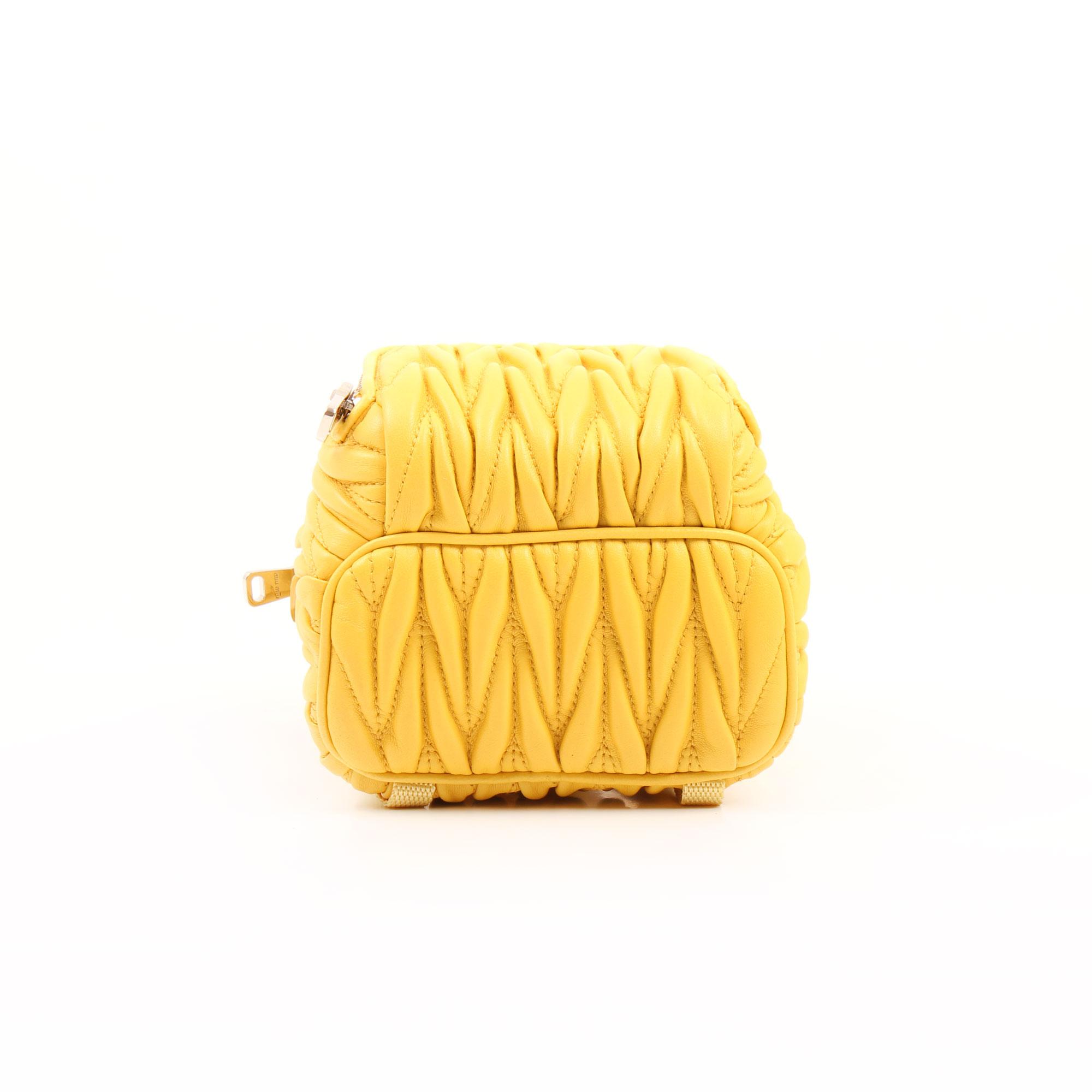 Miu Miu Mini Backpack Matelassé Crossbody Bag Yellow I CBL Bags b988b1d084