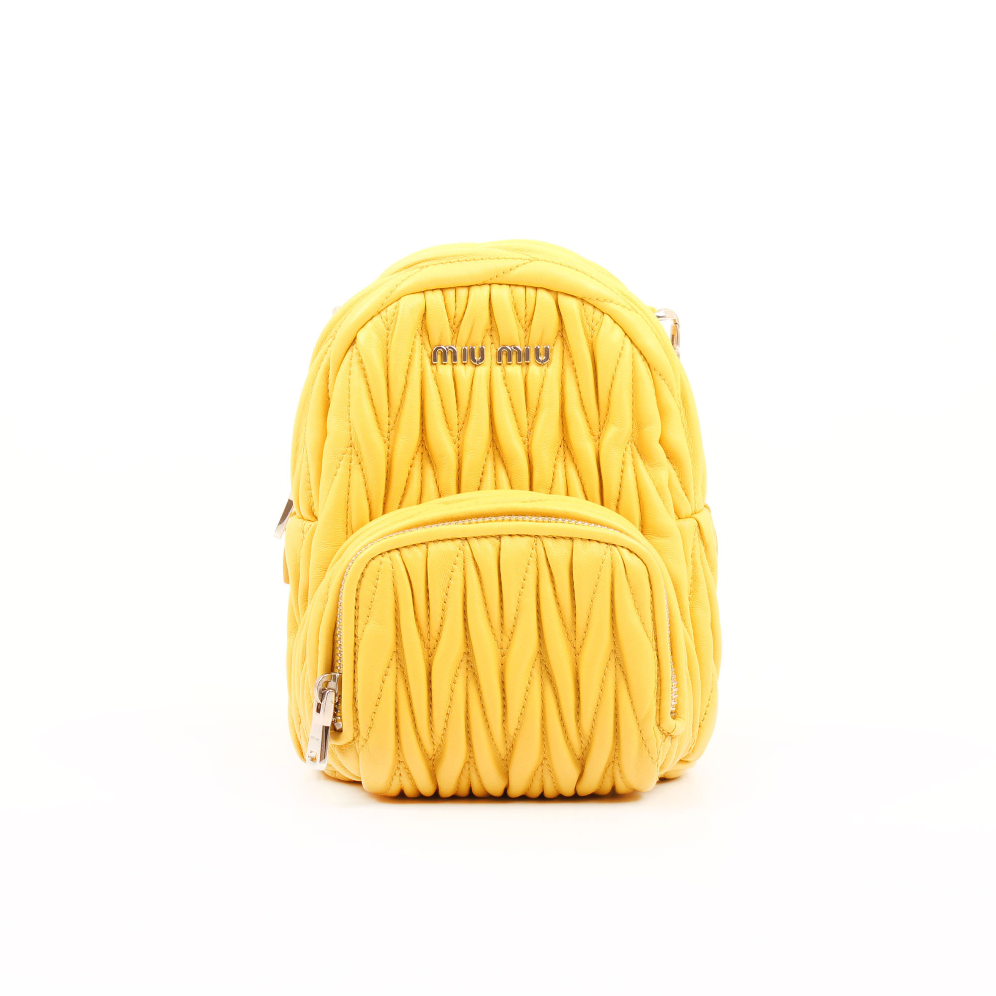 miu miu mini bag matelasse sole yellow backpack front