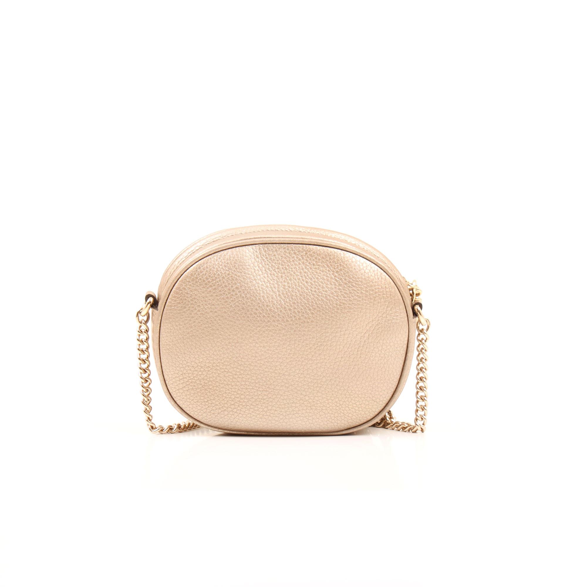 Imagen trasera del bolso soho piel mini cadena bag tornasolado