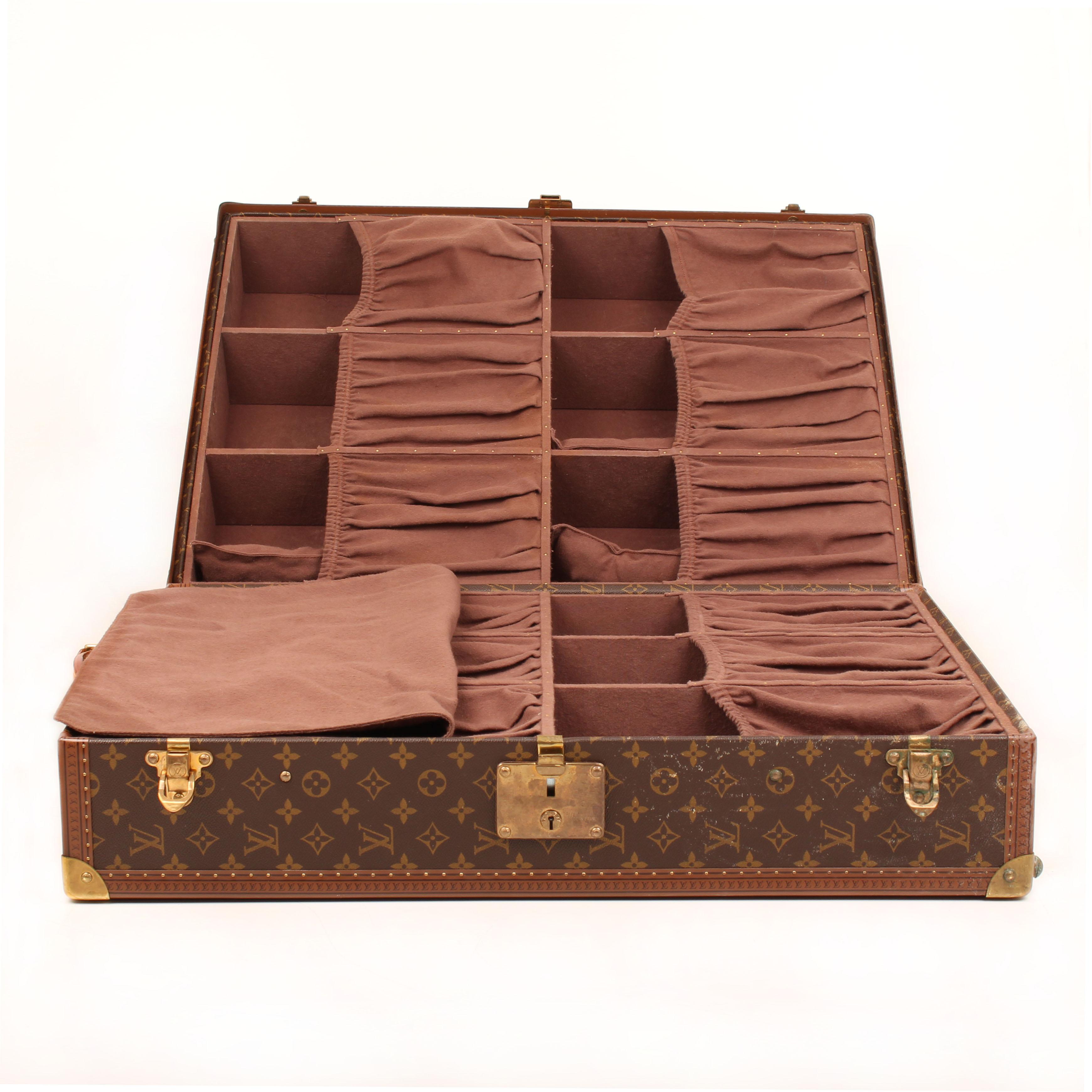 louis vuitton gemine shoe trunk 12 pairs monogram open
