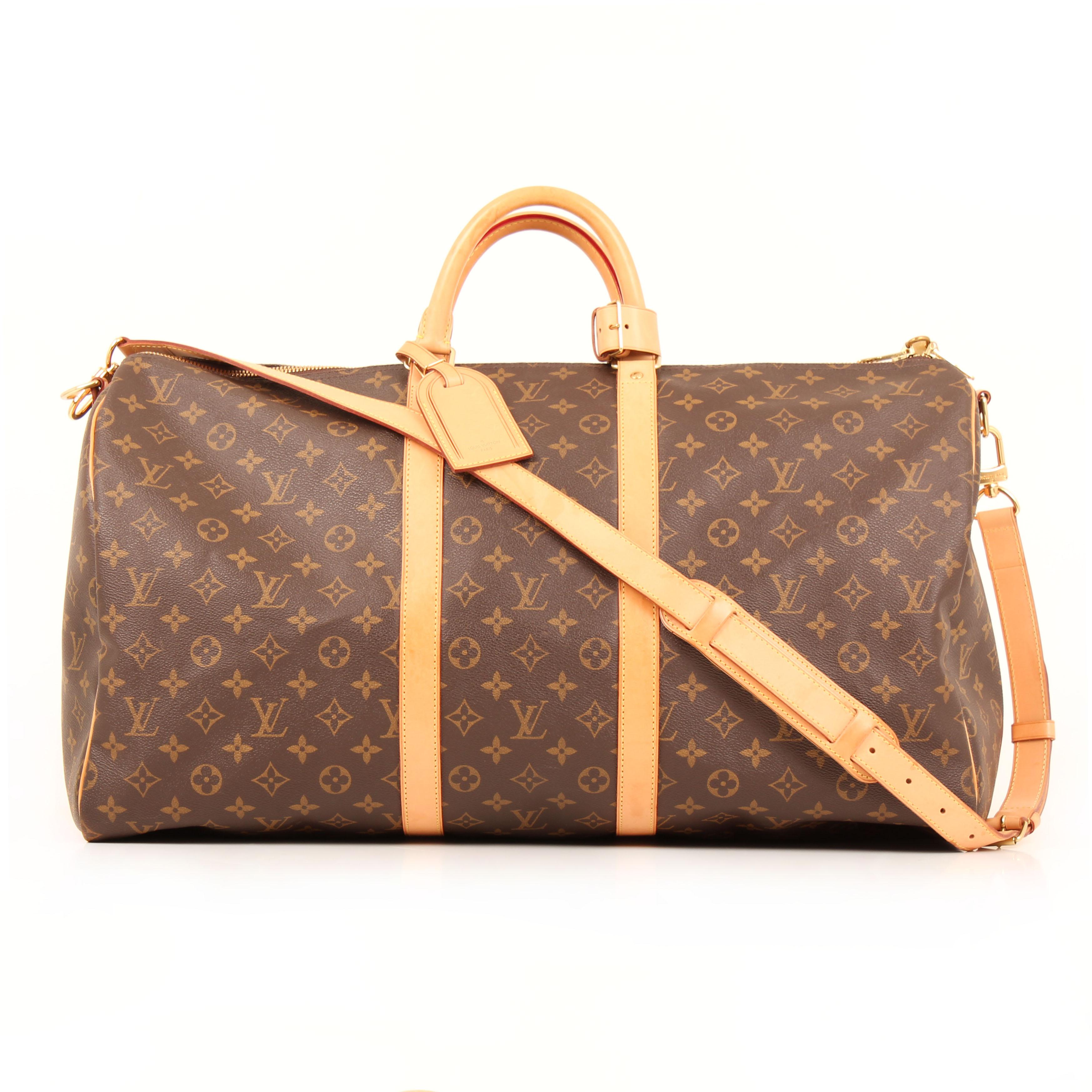 louis vuitton travel bag keepall 55 monogram front strap