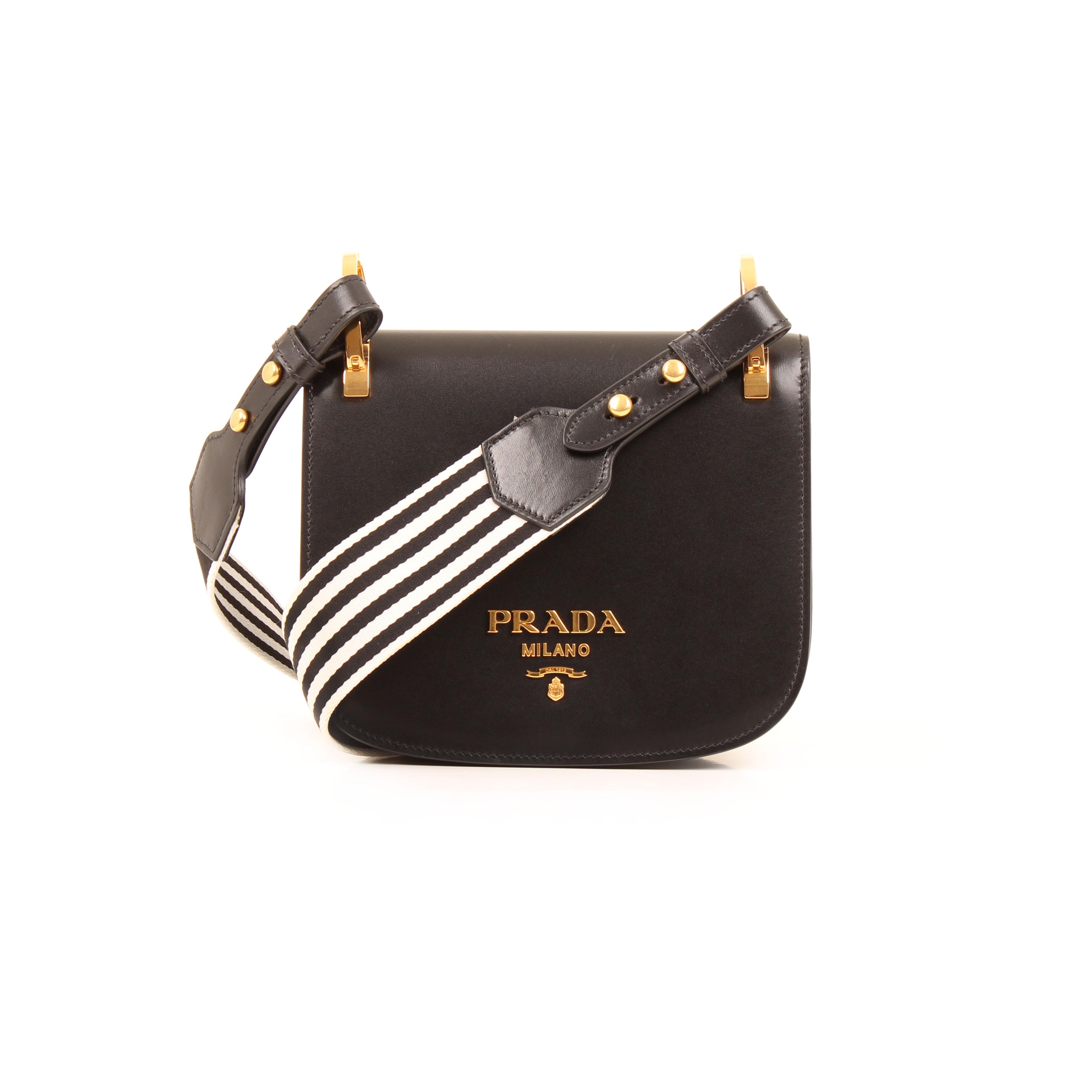 prada shoulder bag pionniere vitello leather black front with strap