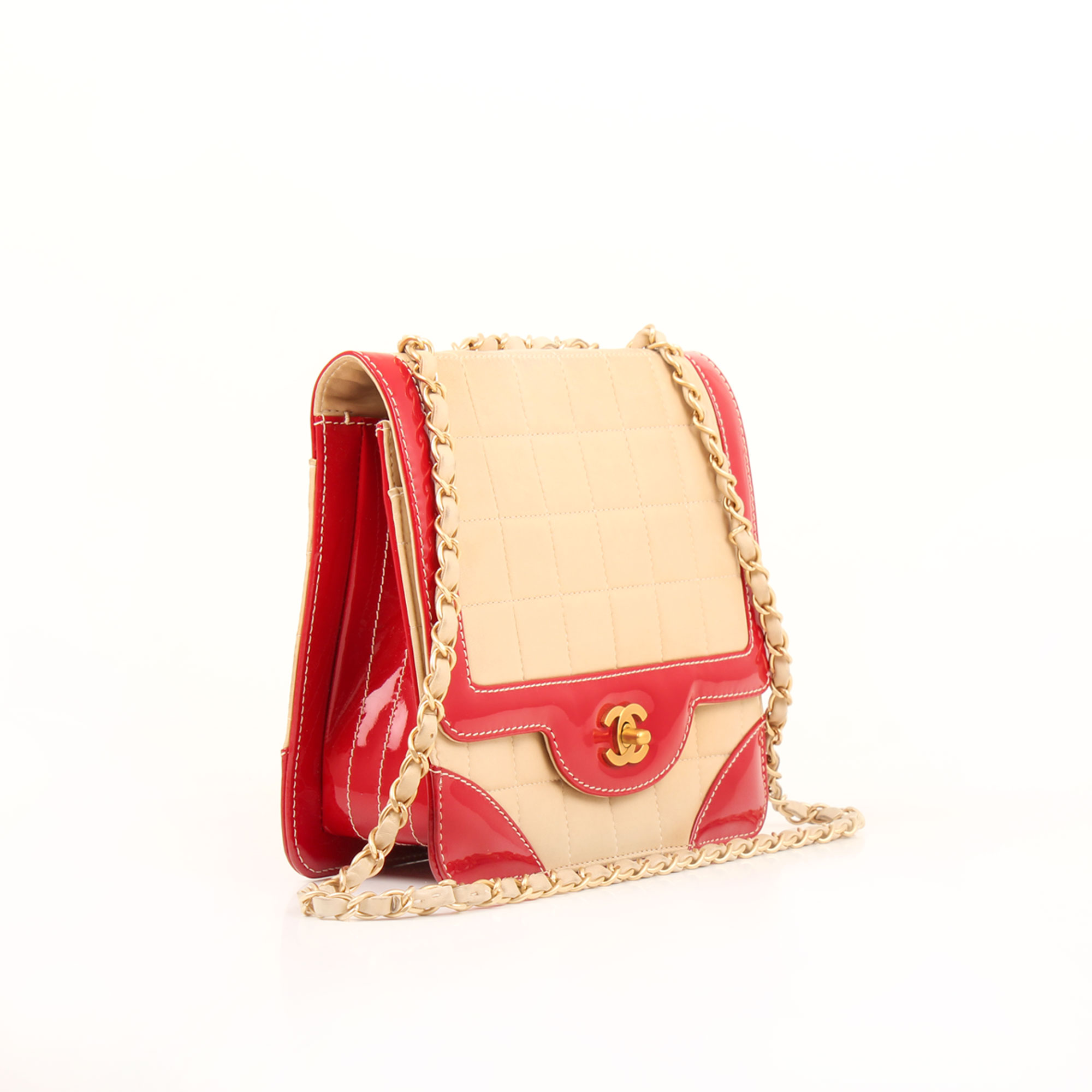 Imagen general del bolso chanel bicolor choco bar solapa unica