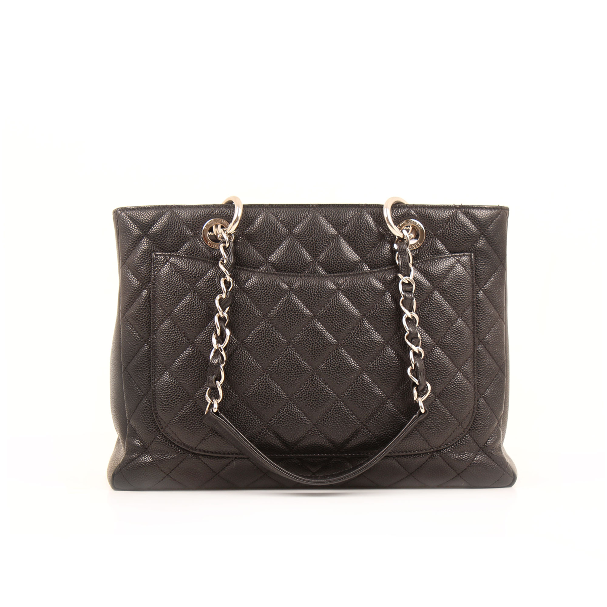 Back image of chanel grand shopping tote bag black caviar leather