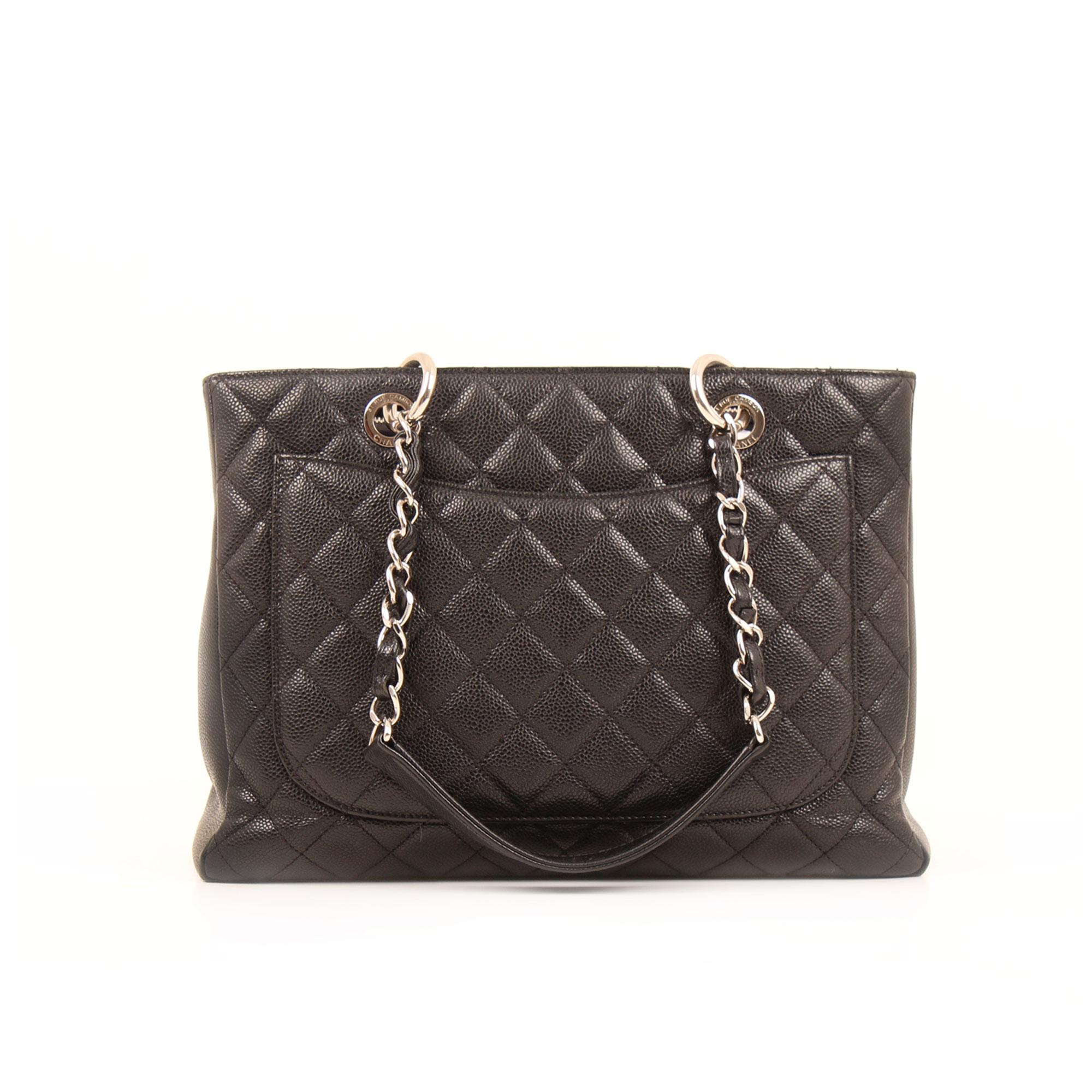 Imagen trasera del bolso chanel grand shopping tote caviar negro