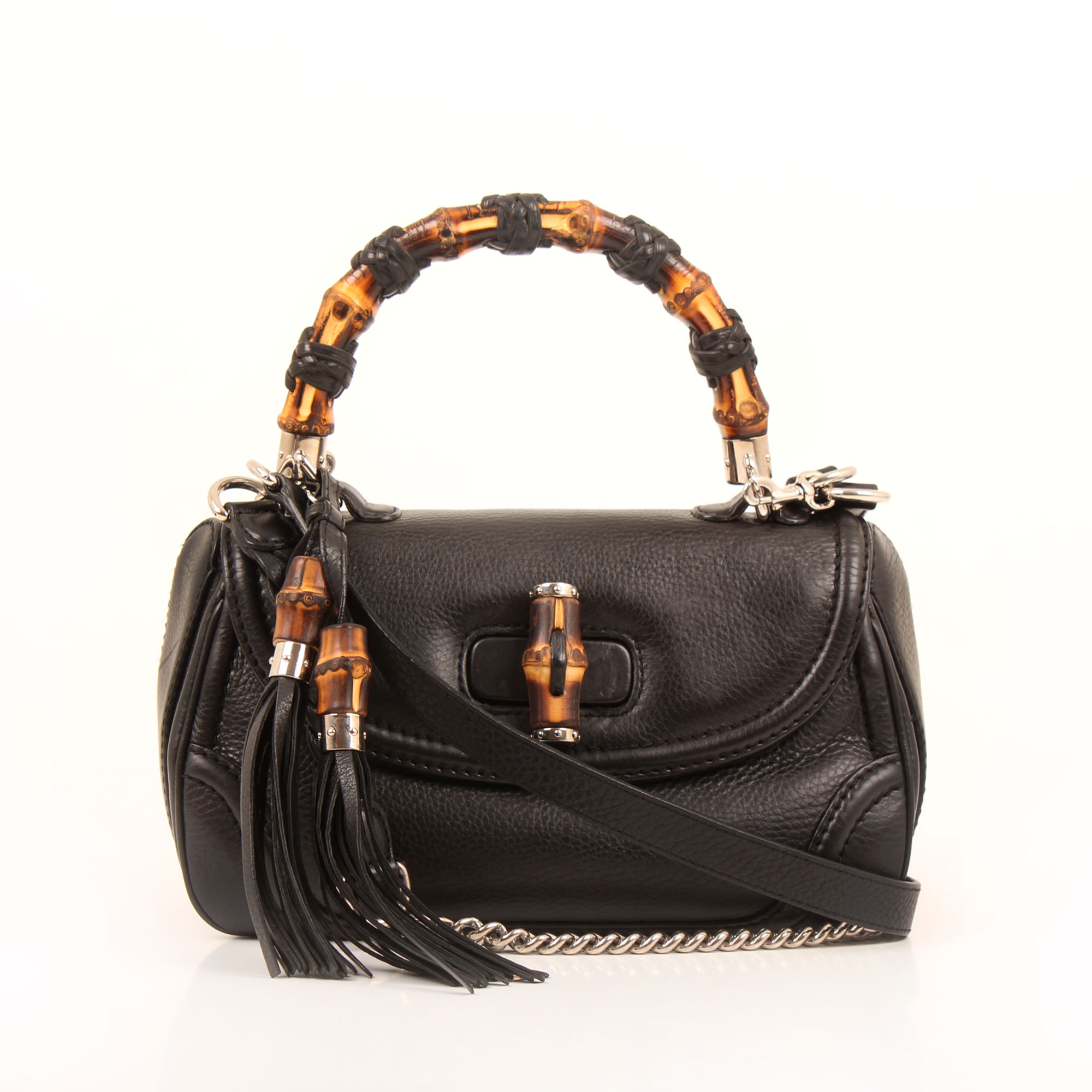Front image of gucci new bamboo black bag with strap