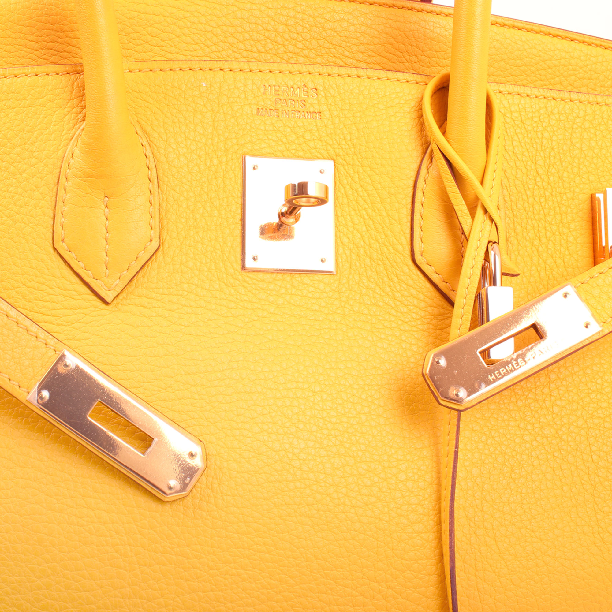 Clochette image of hermes birkin 35 jaune togo leather base
