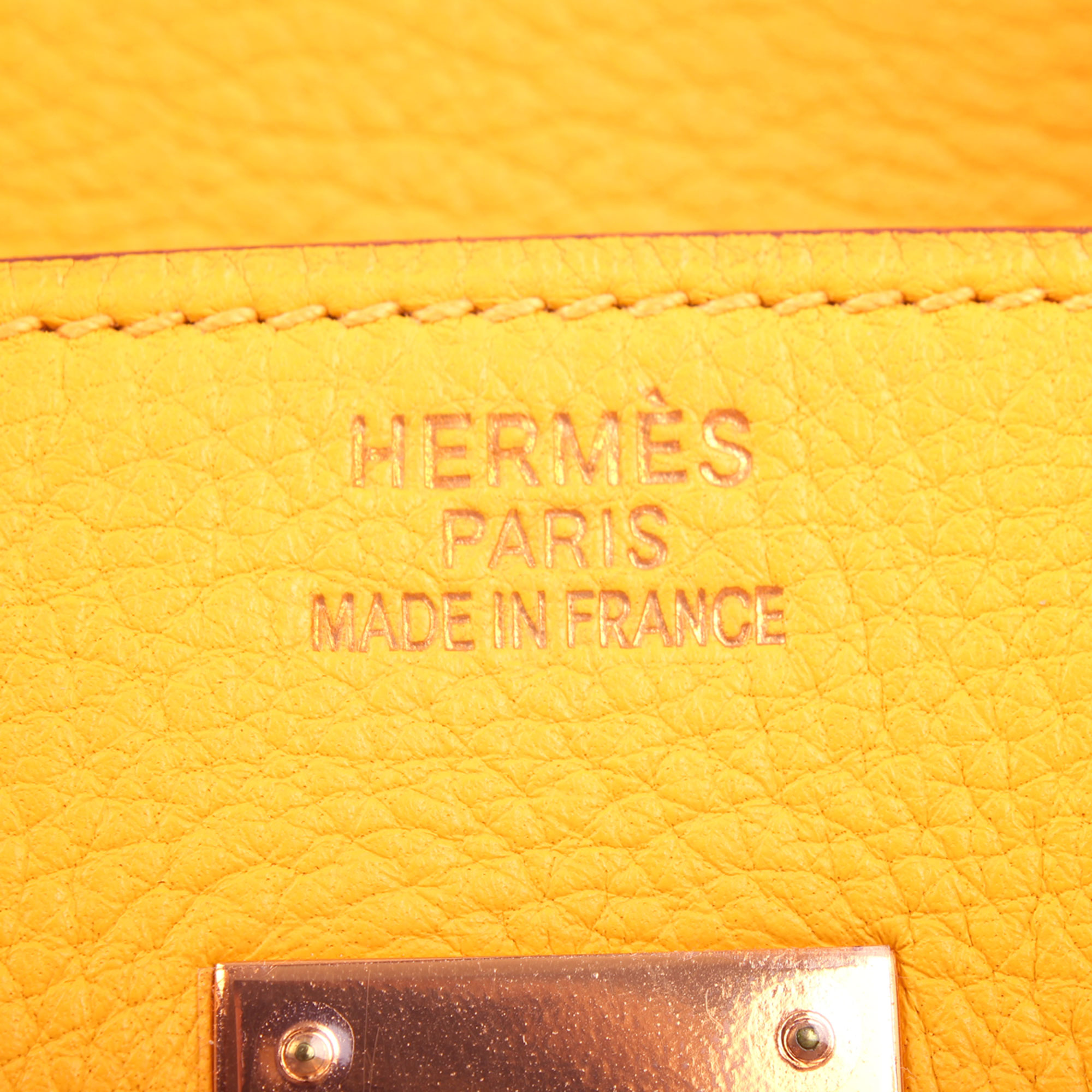 Logo stamp image of hermes birkin 35 jaune togo leather logo