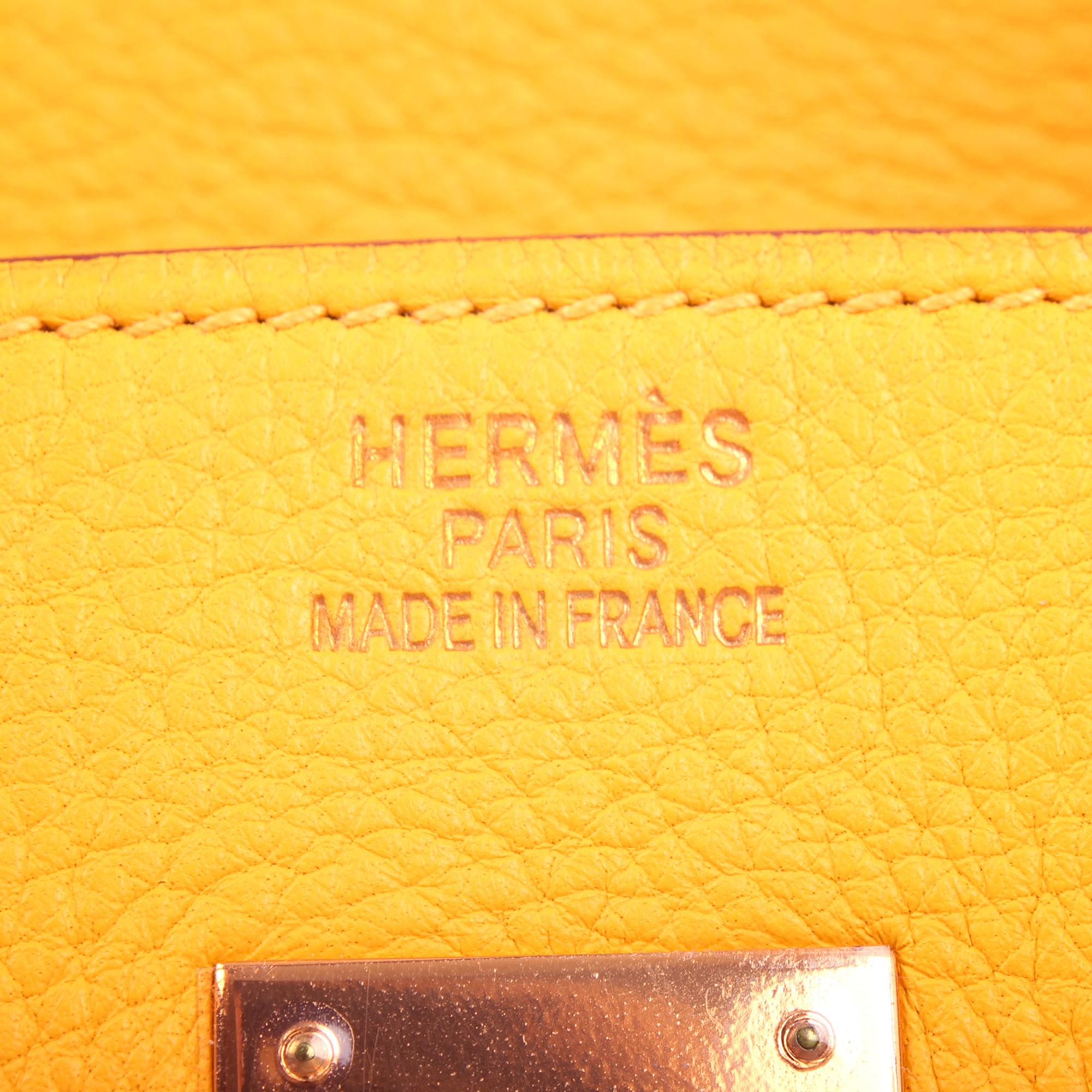 Imagen de la firma del bolso hermes birkin 35 jaune piel togo
