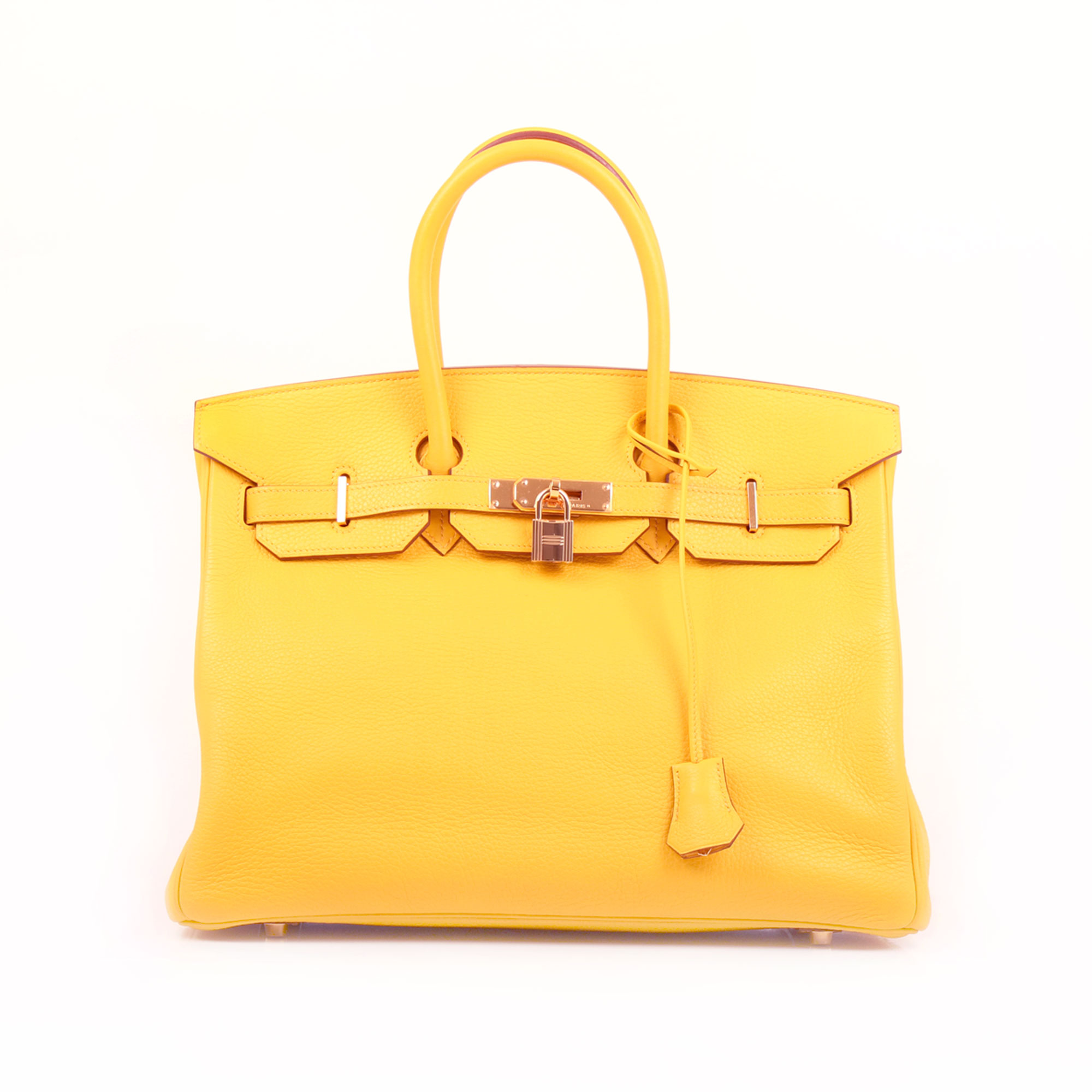 Front image of hermes birkin 35 jaune togo leather
