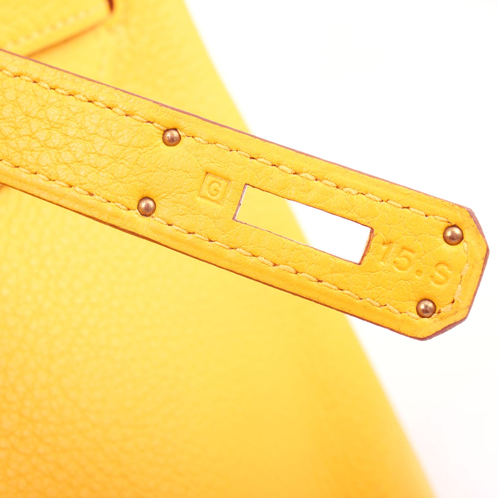 Imagen de la letra del bolso hermes birkin 35 jaune piel togo