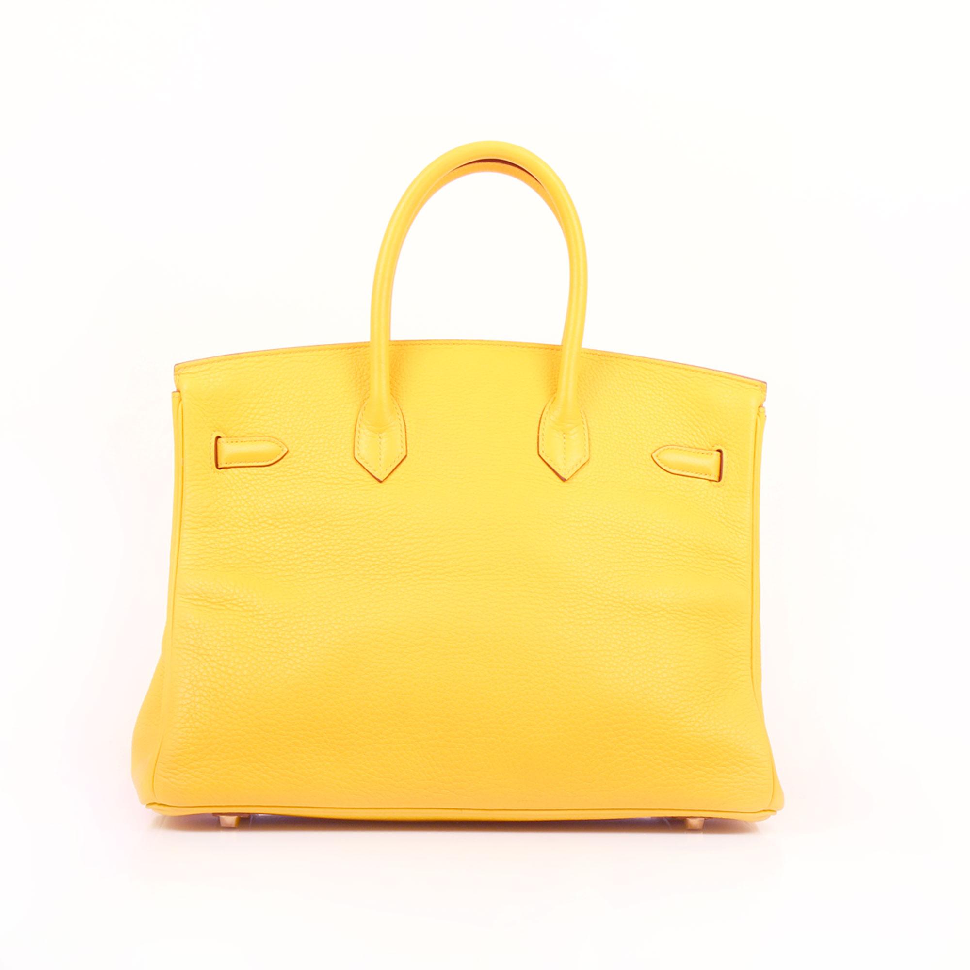 Imagen trasera del bolso hermes birkin 35 jaune piel togo
