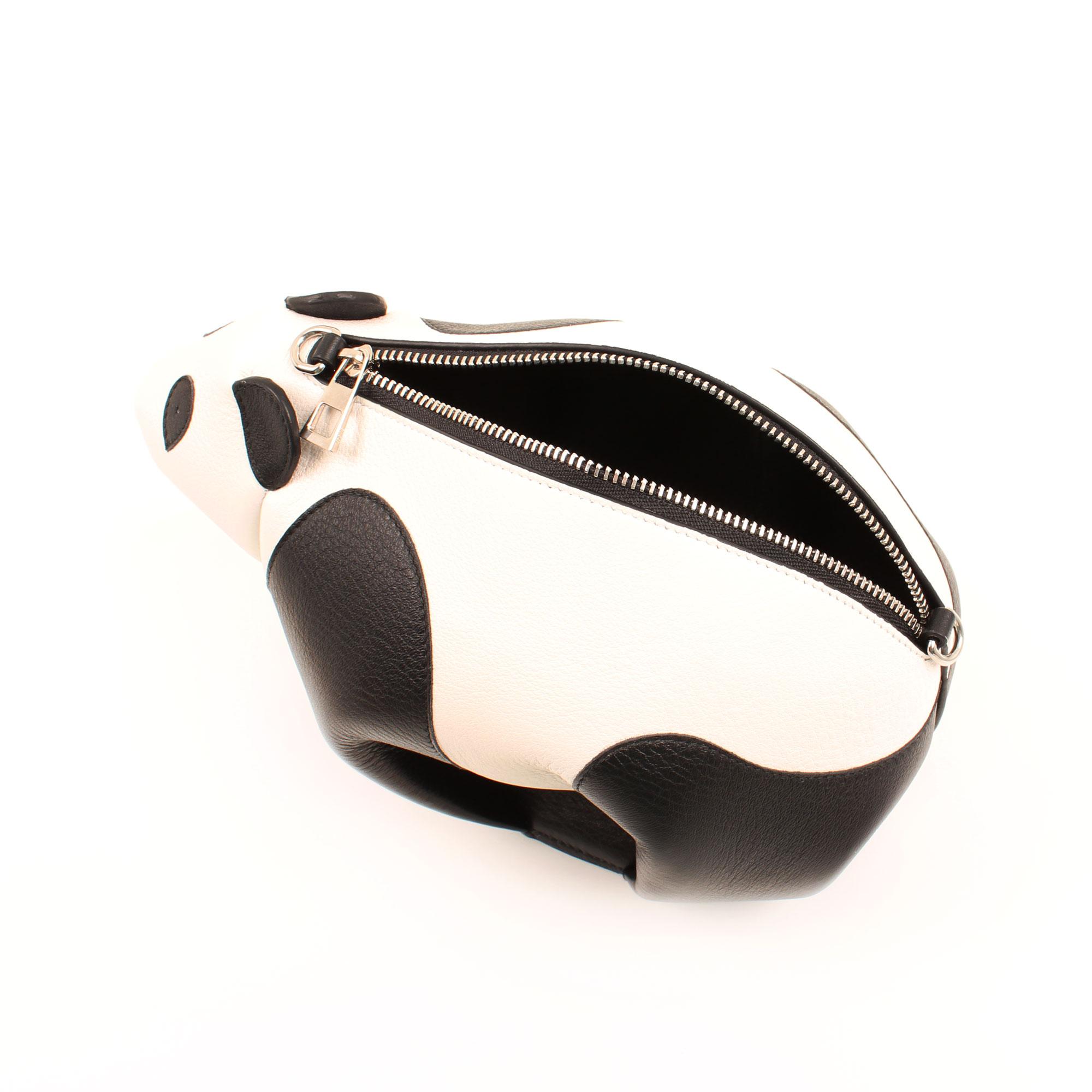 Interior image of loewe mini panda leather bag
