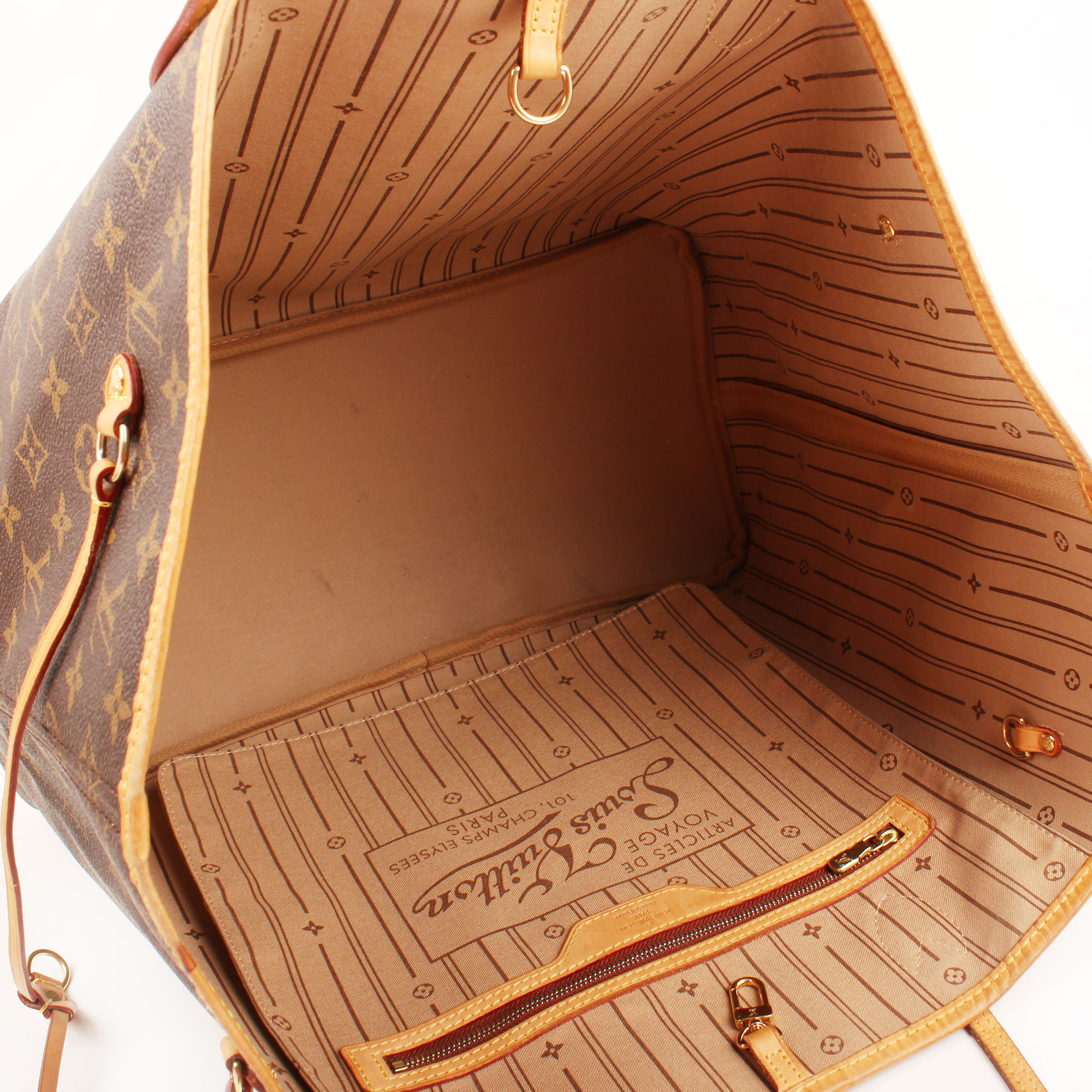 Imagen del interior del bolso louis vuitton neverfull gm monogram