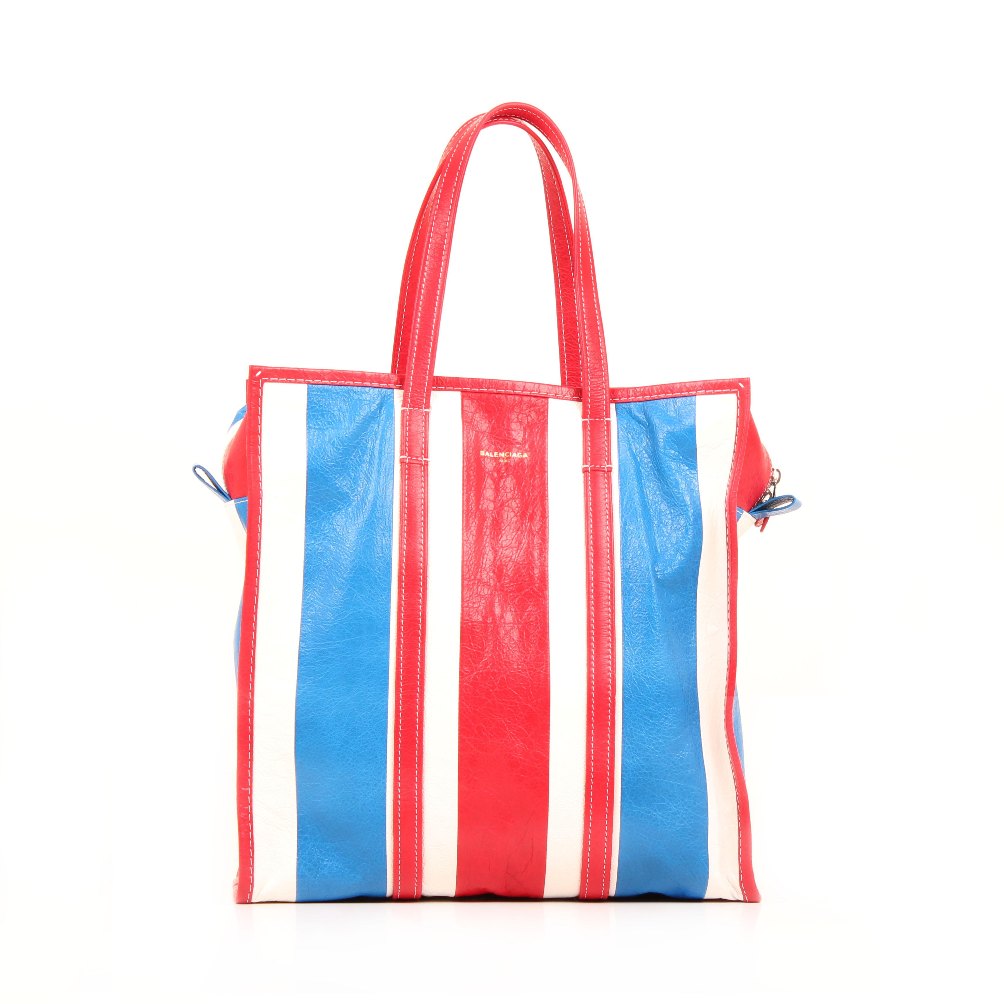 shopper bag balenciaga bazar m arena striped front