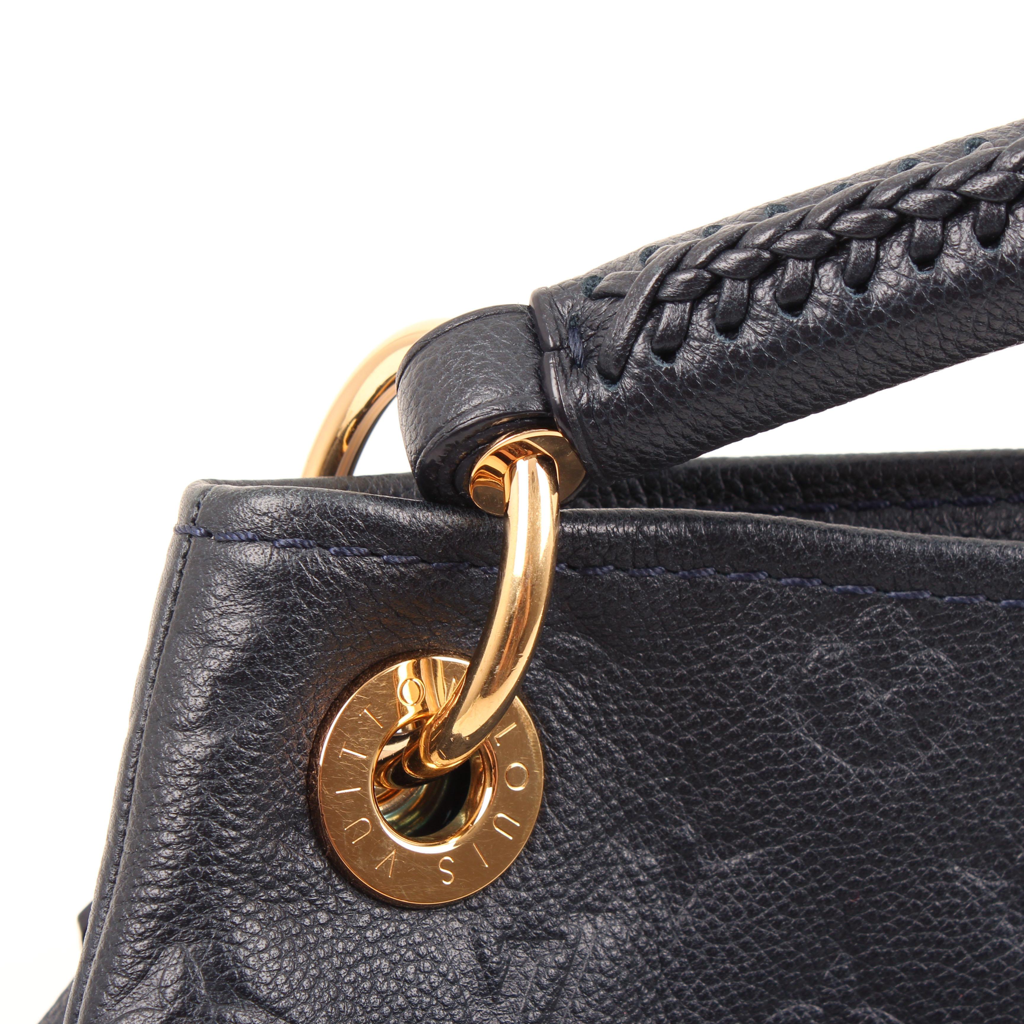 tote bag louis vuitton artsy mm monogram embossed navy blue grommet and handle