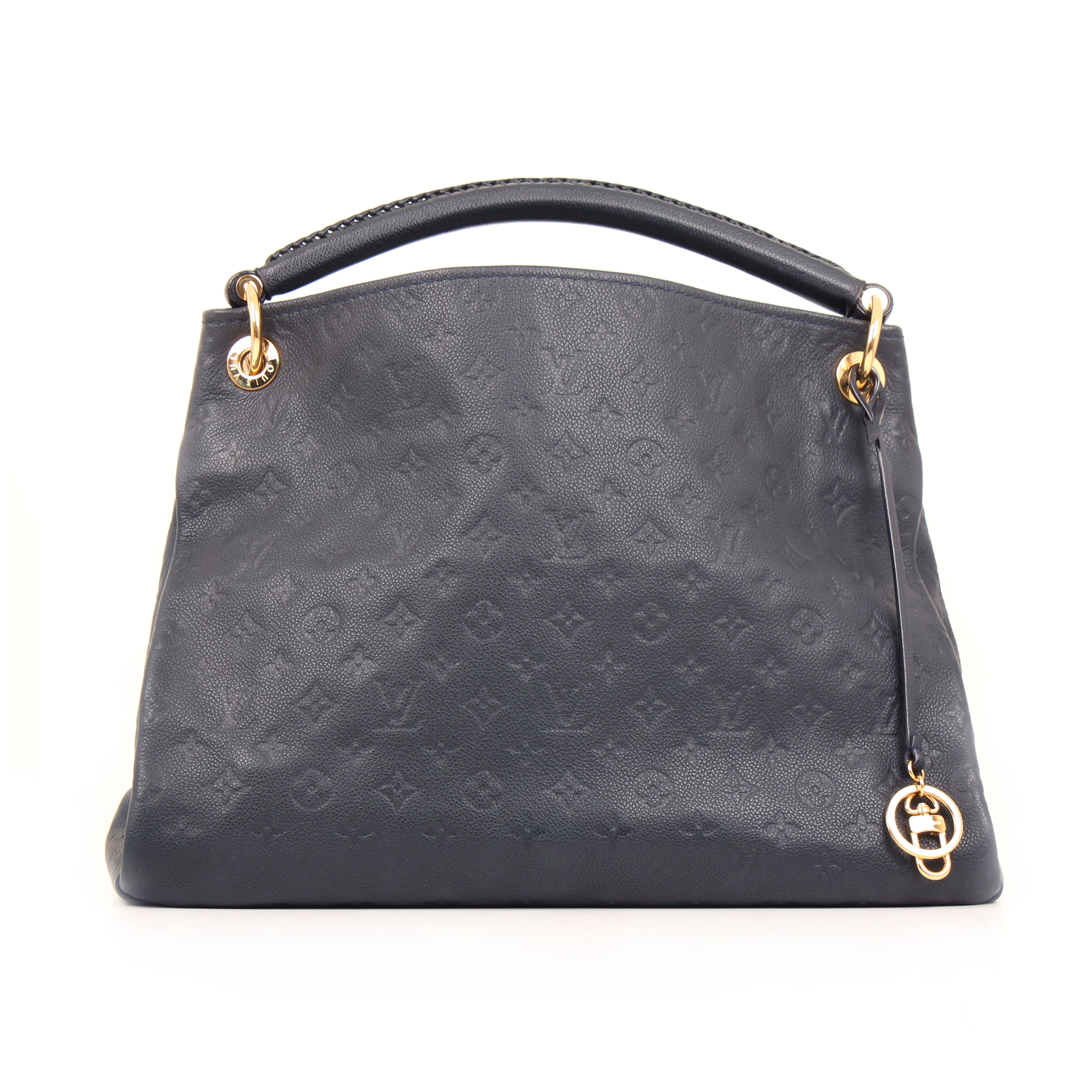tote bag louis vuitton artsy mm monogram embossed navy blue front 21afe15b36d9c
