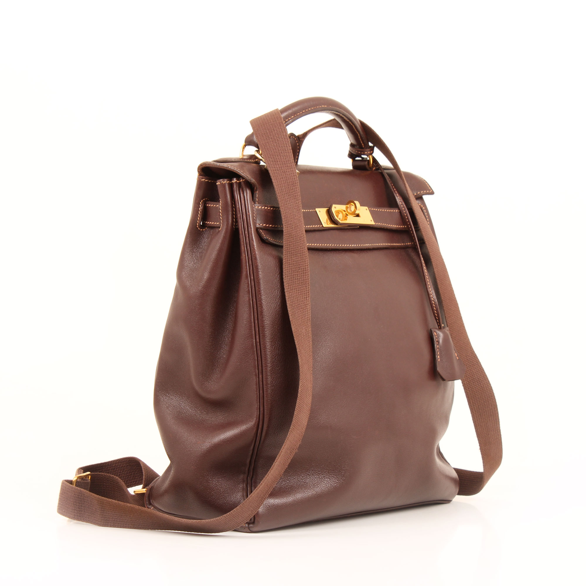 Side image showing handles of hermes kelly a dos backpack box calf terre