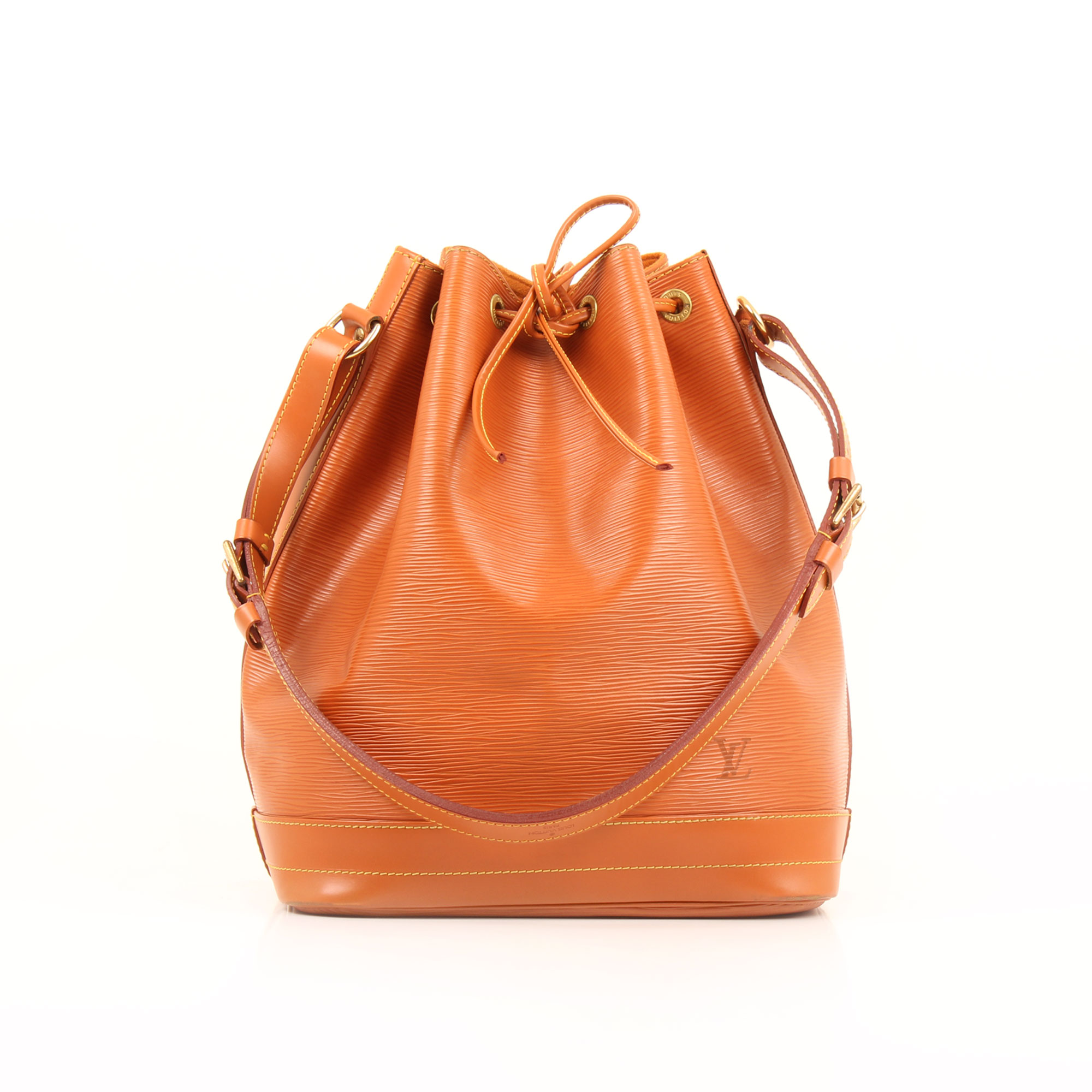 Front image of louis vuitton noe camel epi leather