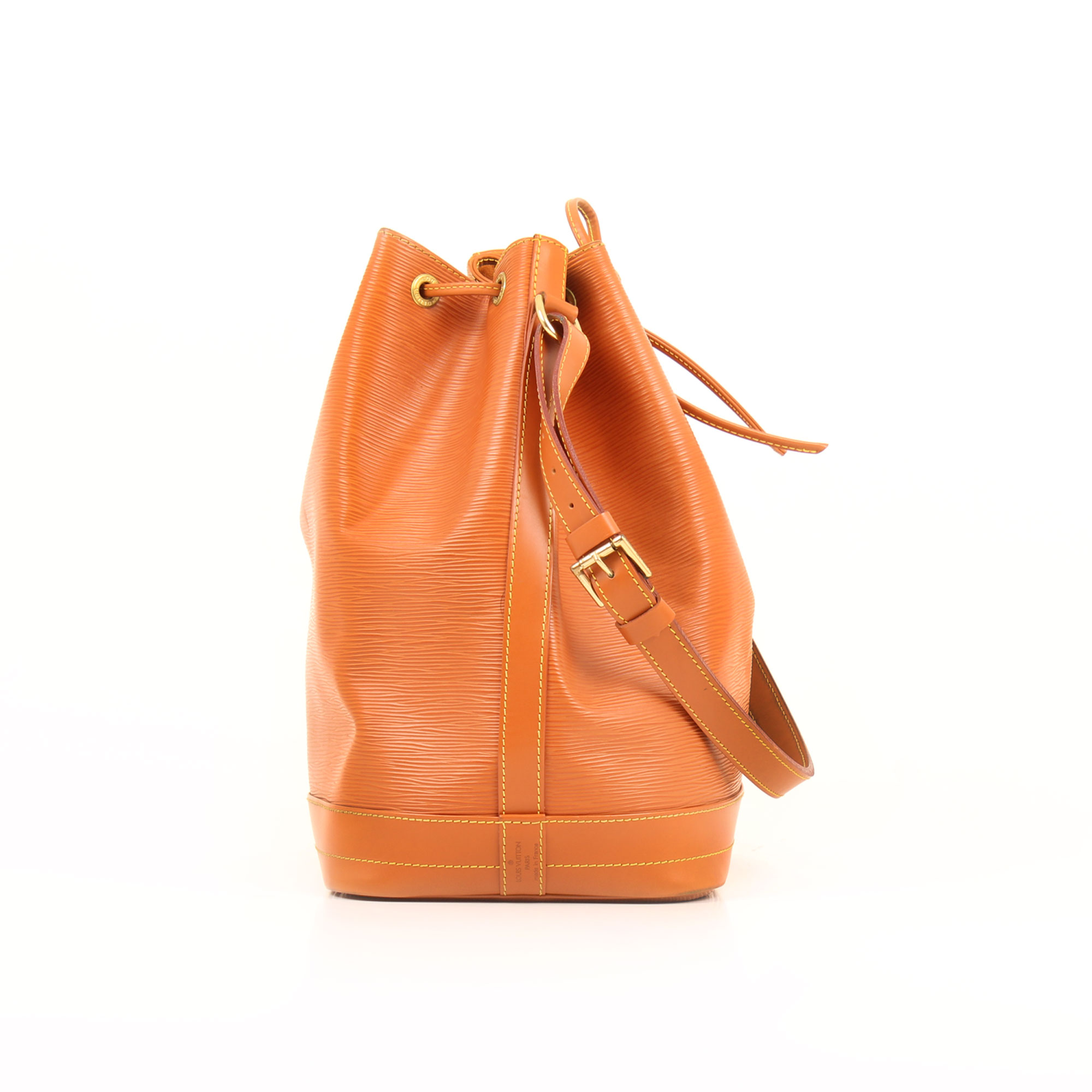 Side image of louis vuitton noe camel epi leather