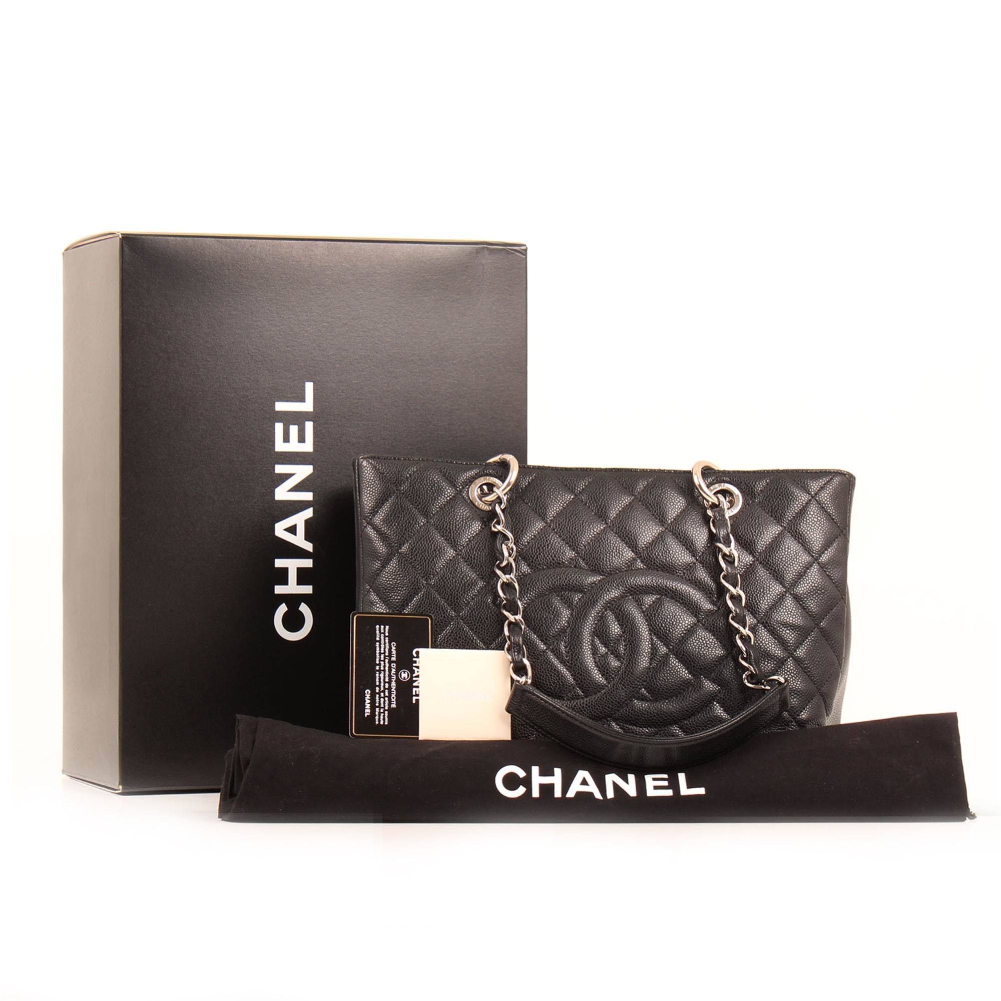 Extras image of chanel grand shopping tote bag black caviar leather