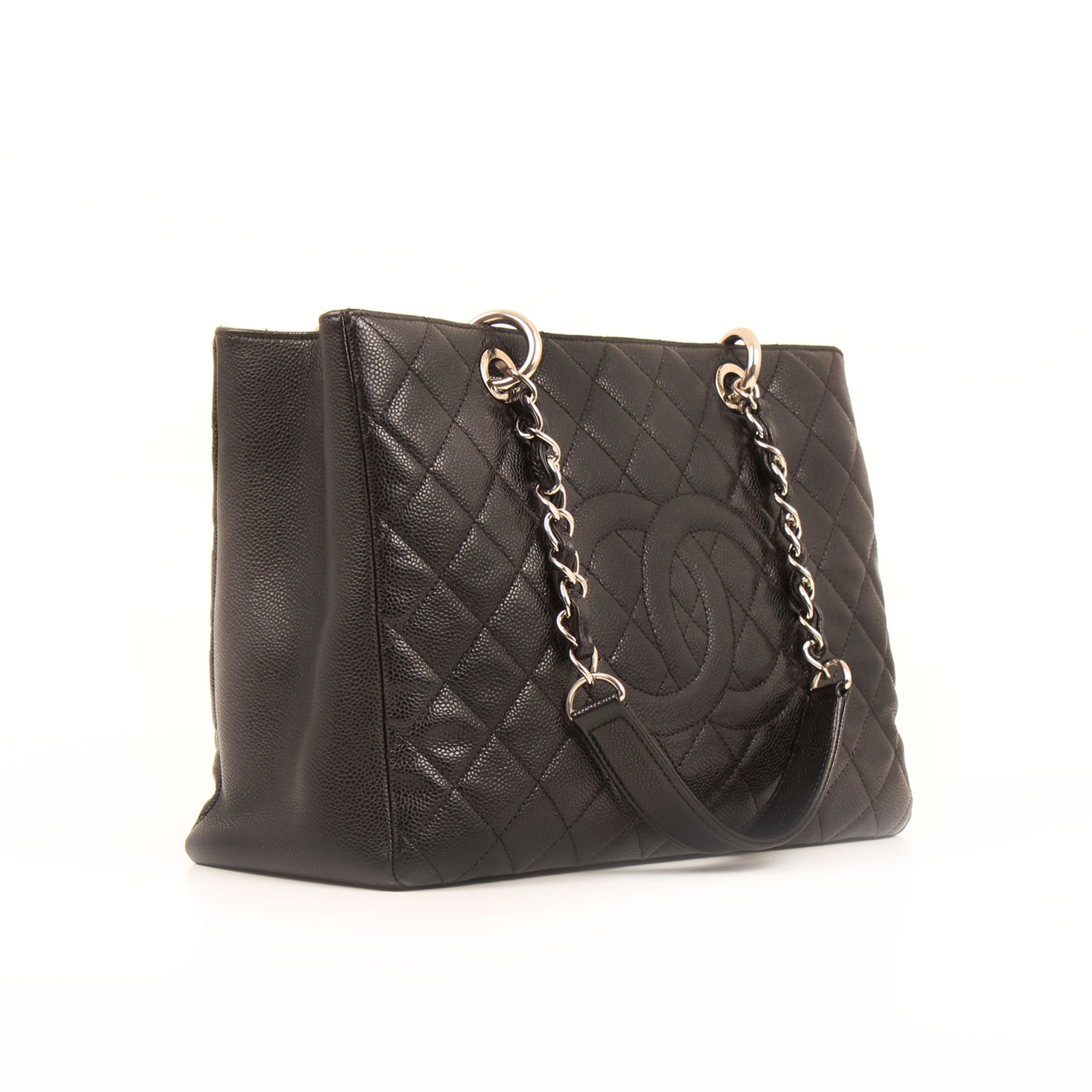 General image of chanel grand shopping tote bag black caviar