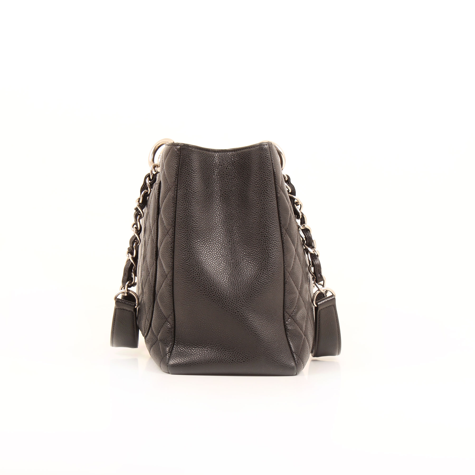 Side image of chanel grand shopping tote bag black caviar leather