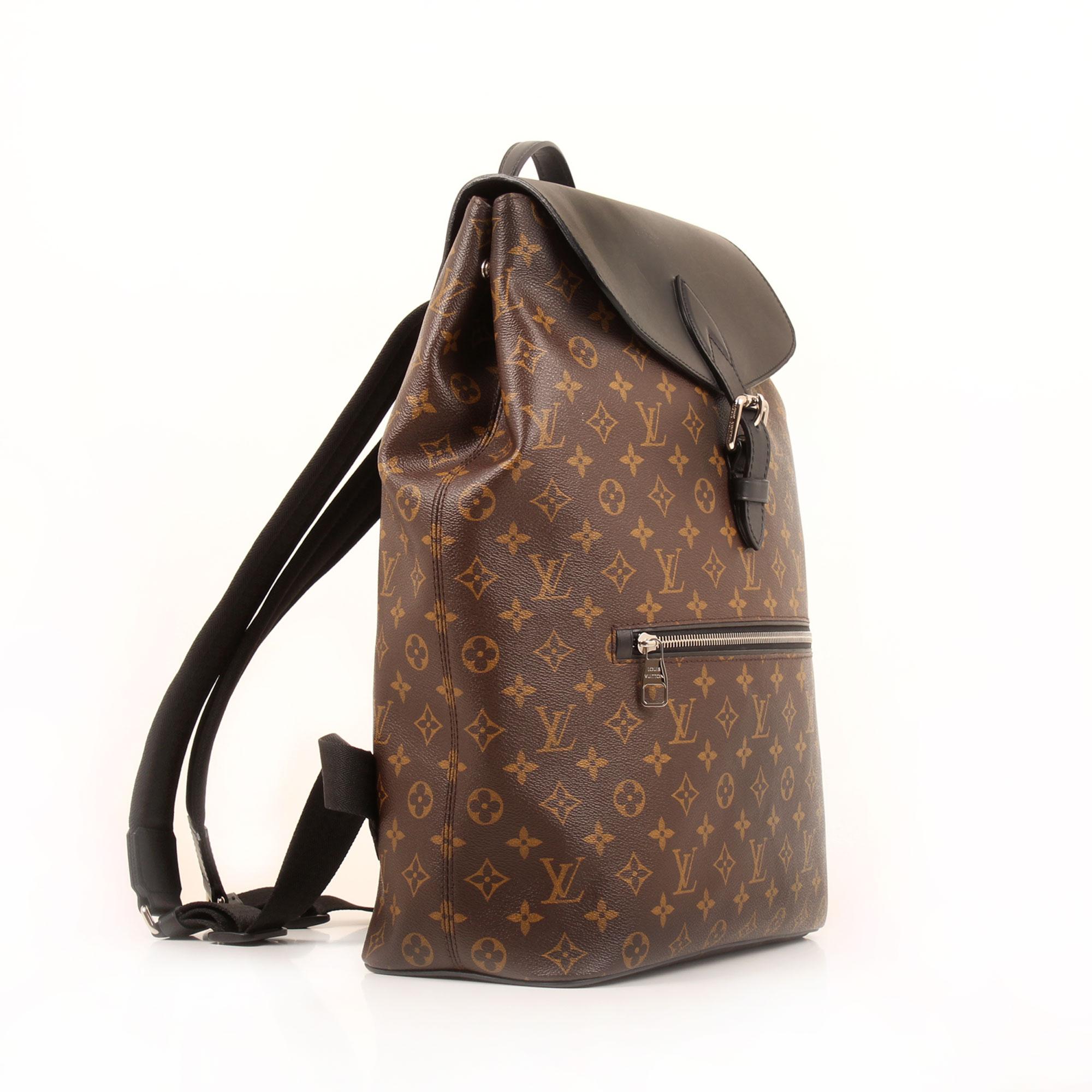 Side image of louis vuitton palk monogram macassar backpack