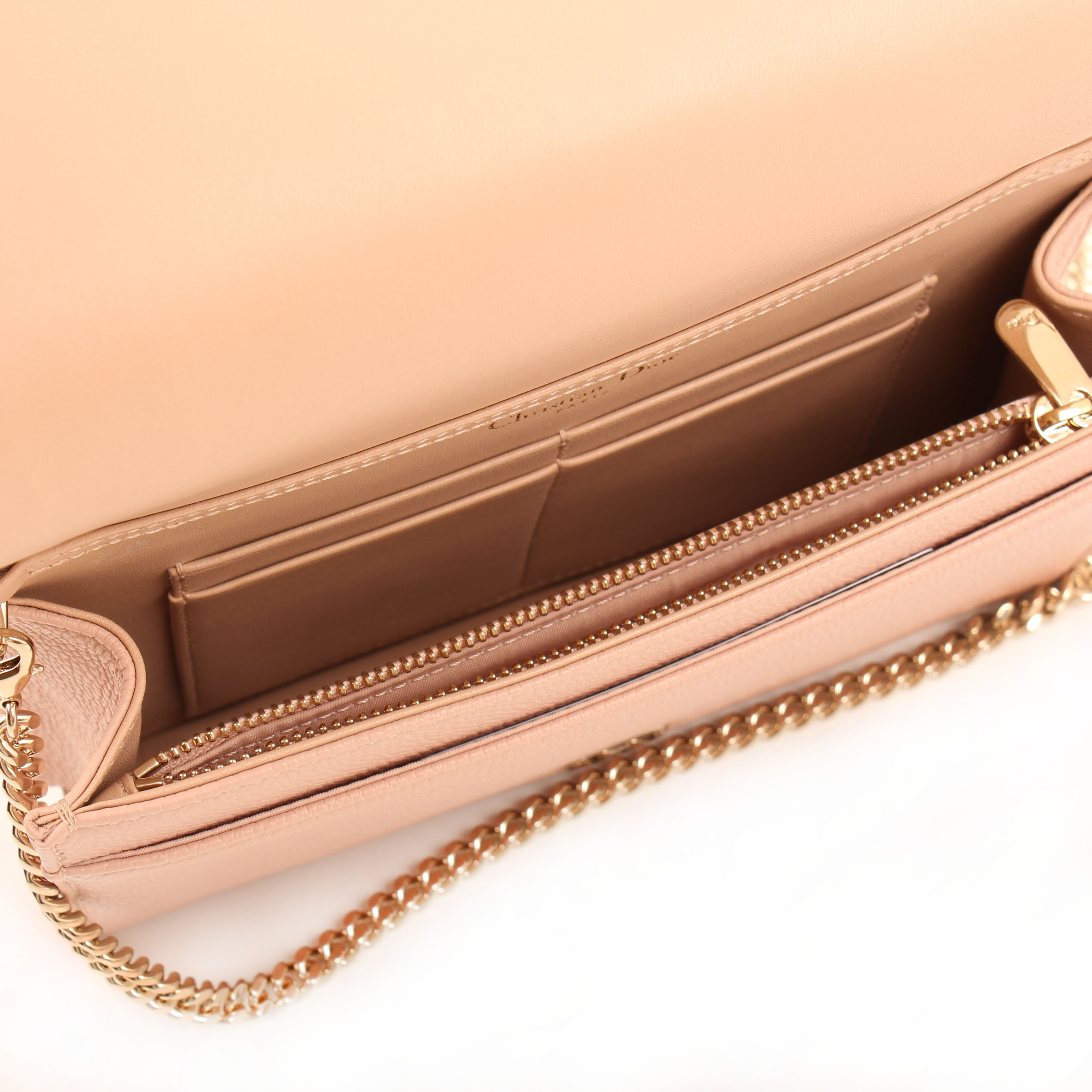 wallet on chain dior diorama pouch rosa nude interior