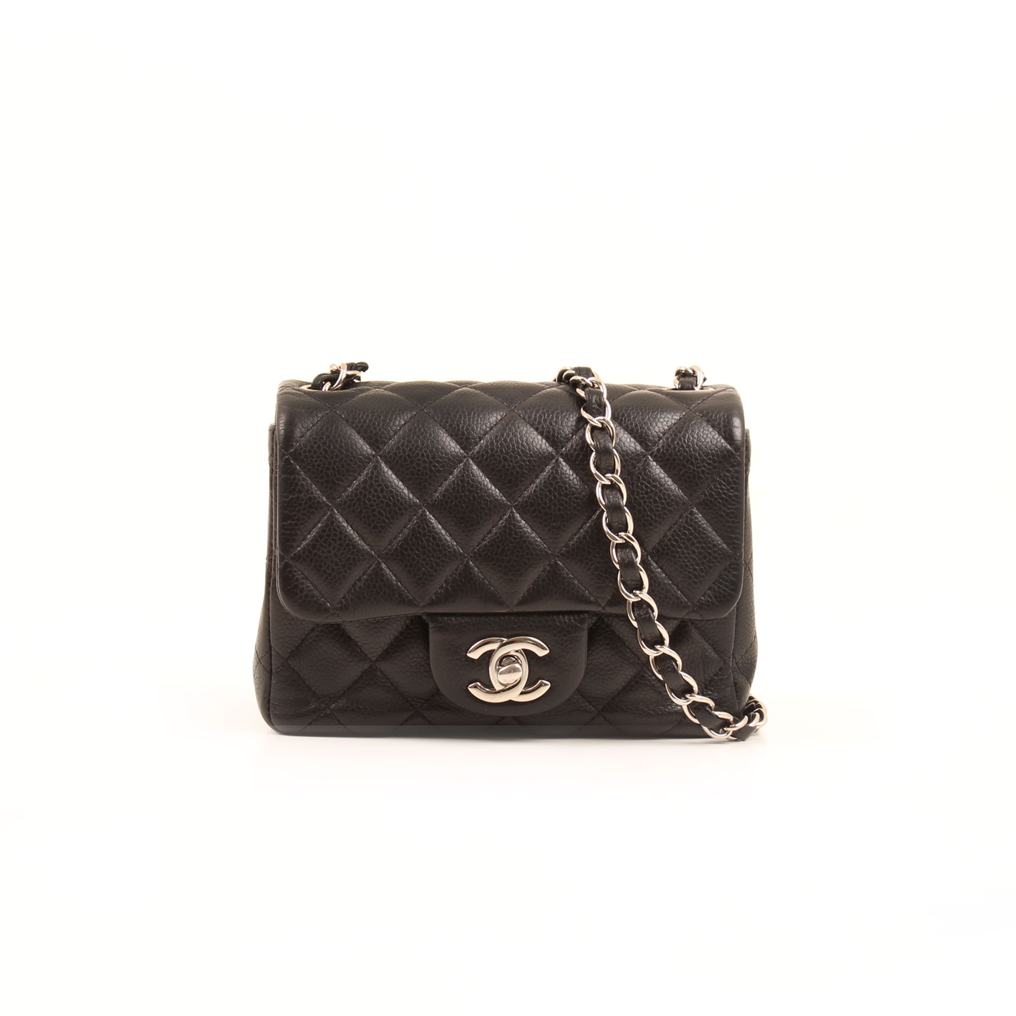 Front image of chanel mini timeless black caviar leather