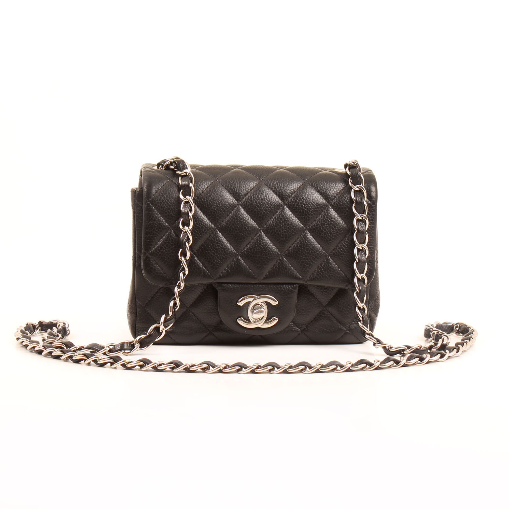 Front image of chanel mini timeless black caviar