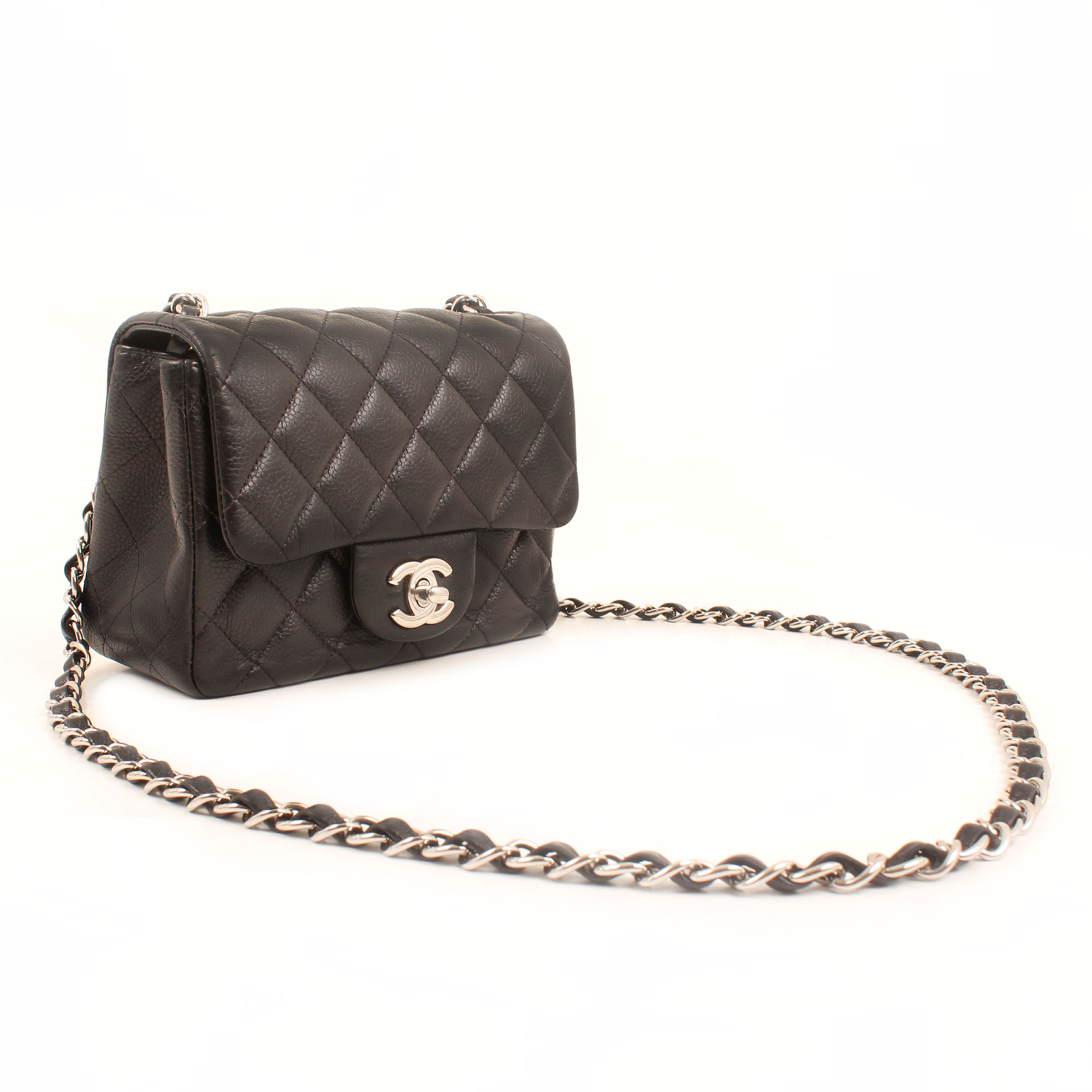 General image of chanel mini timeless black caviar leather