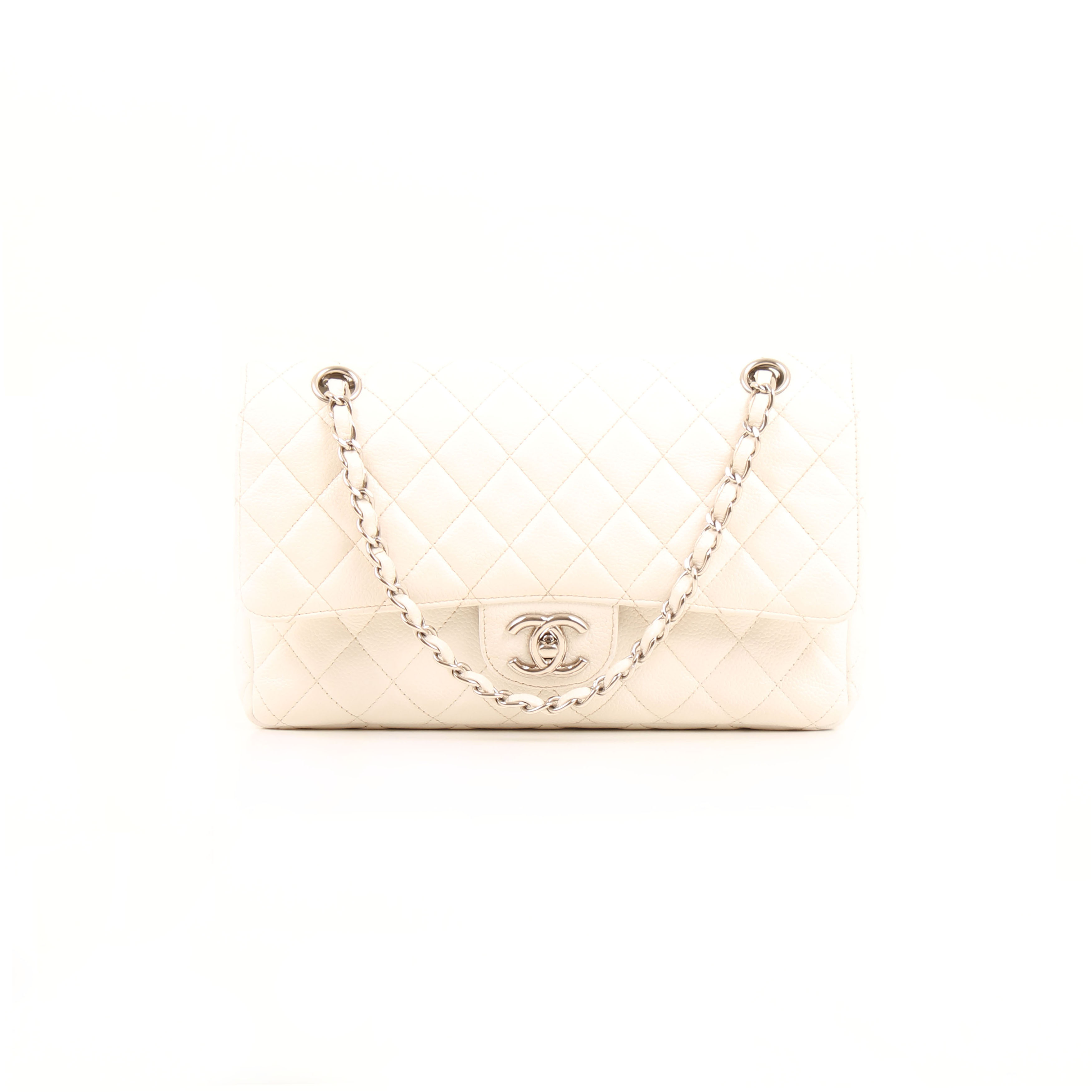 chanel timeless double flap bag soft caviar white front
