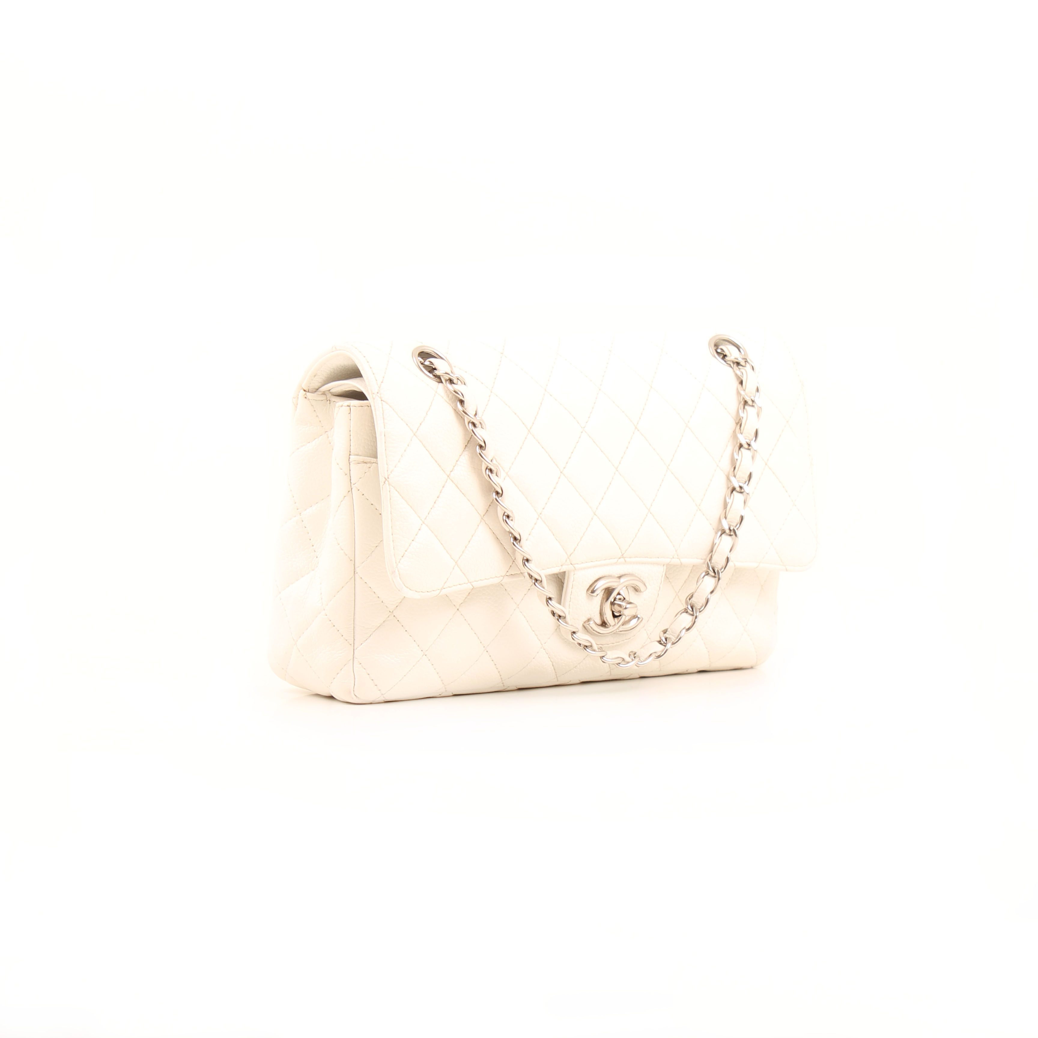 bolso chanel timeless double flap soft caviar blanco general