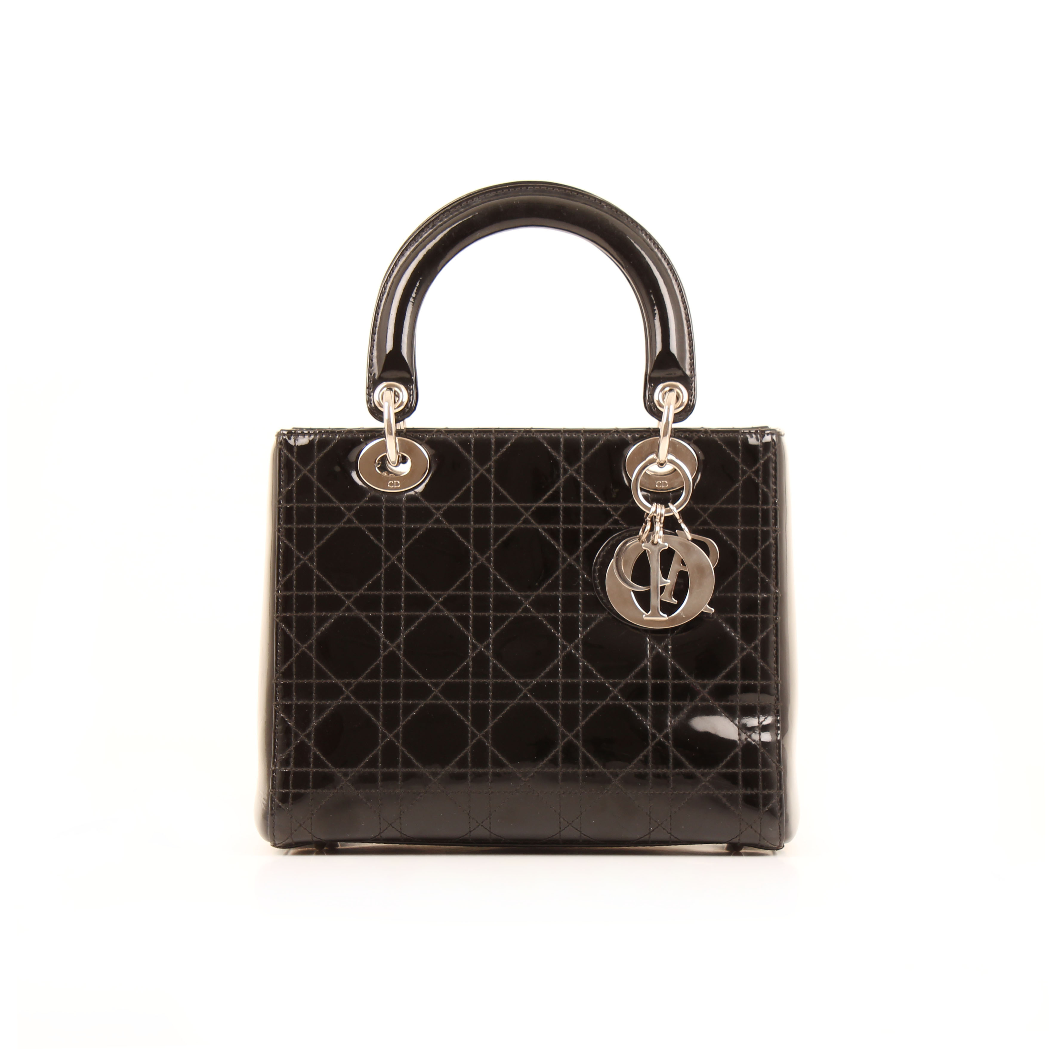 dior lady dior bag black patent leather front