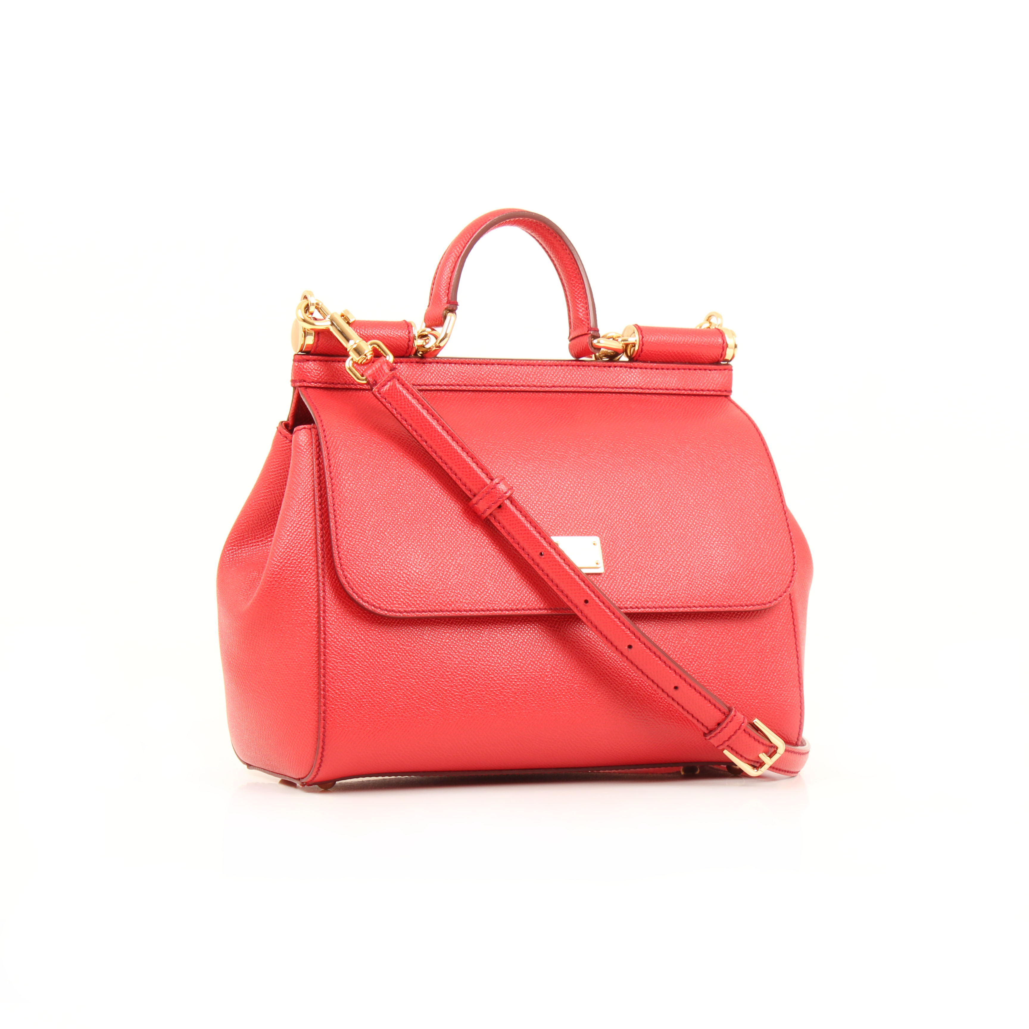 dolce gabbana sicily bag red grained leather general