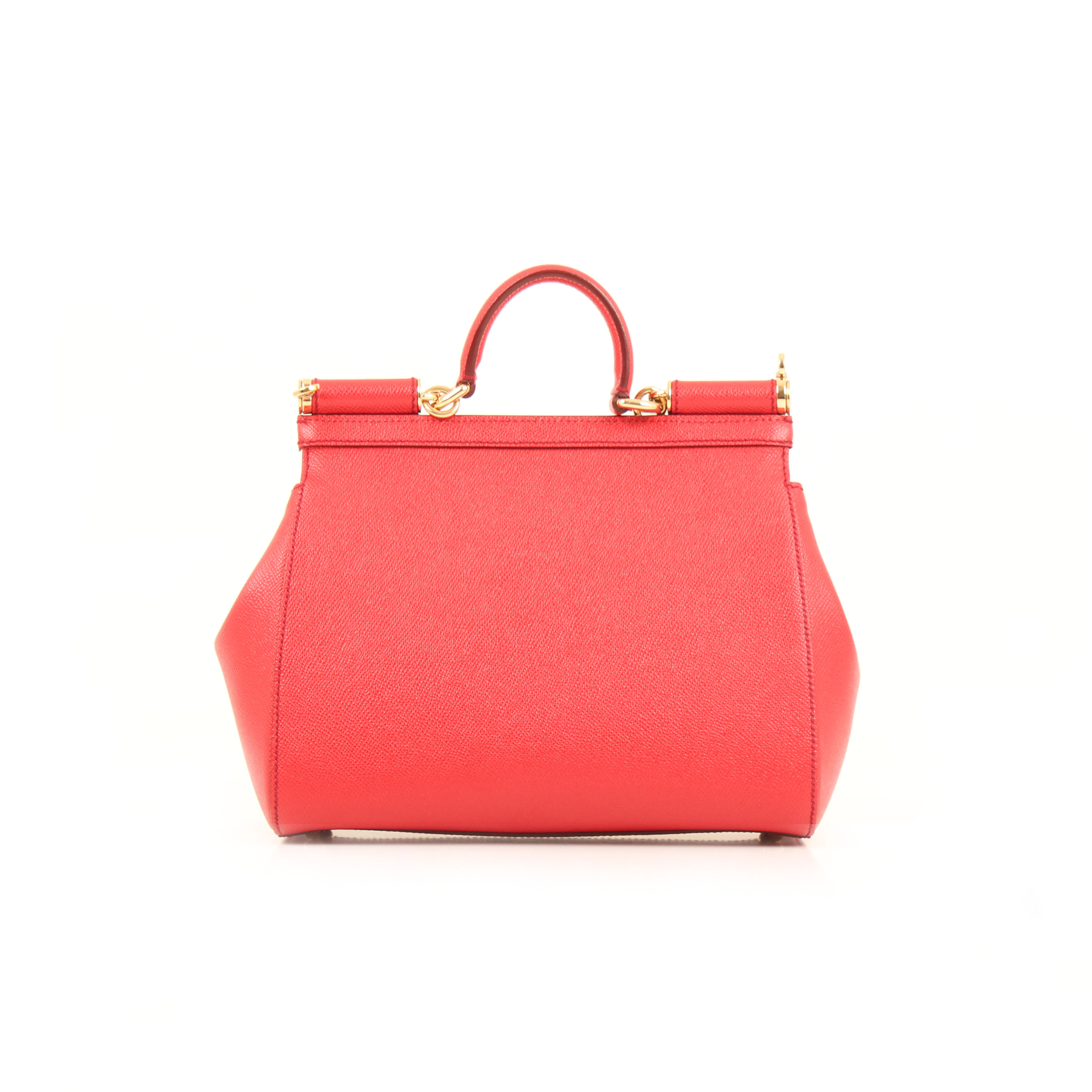 dolce gabbana sicily bag red grained leather back