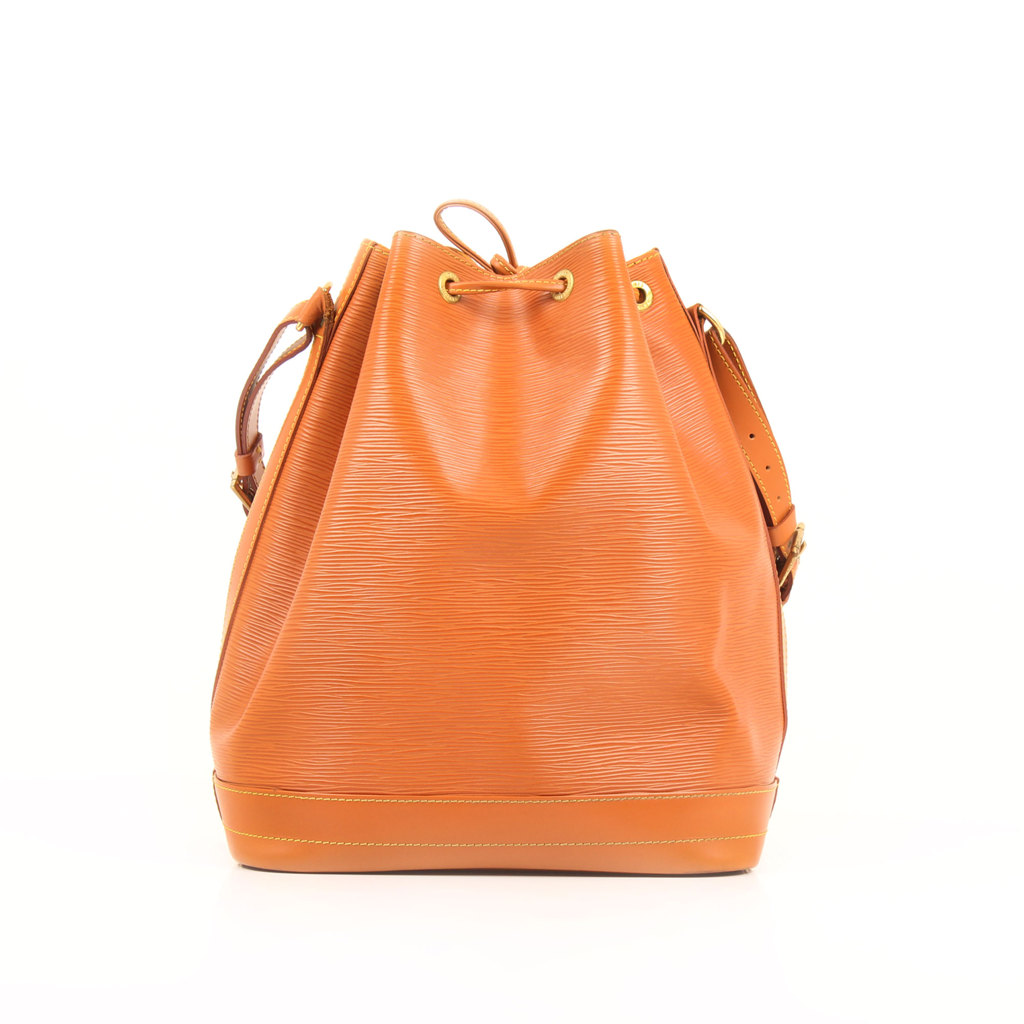 Imagen trasera del bolso louis vuitton noe piel epi marron