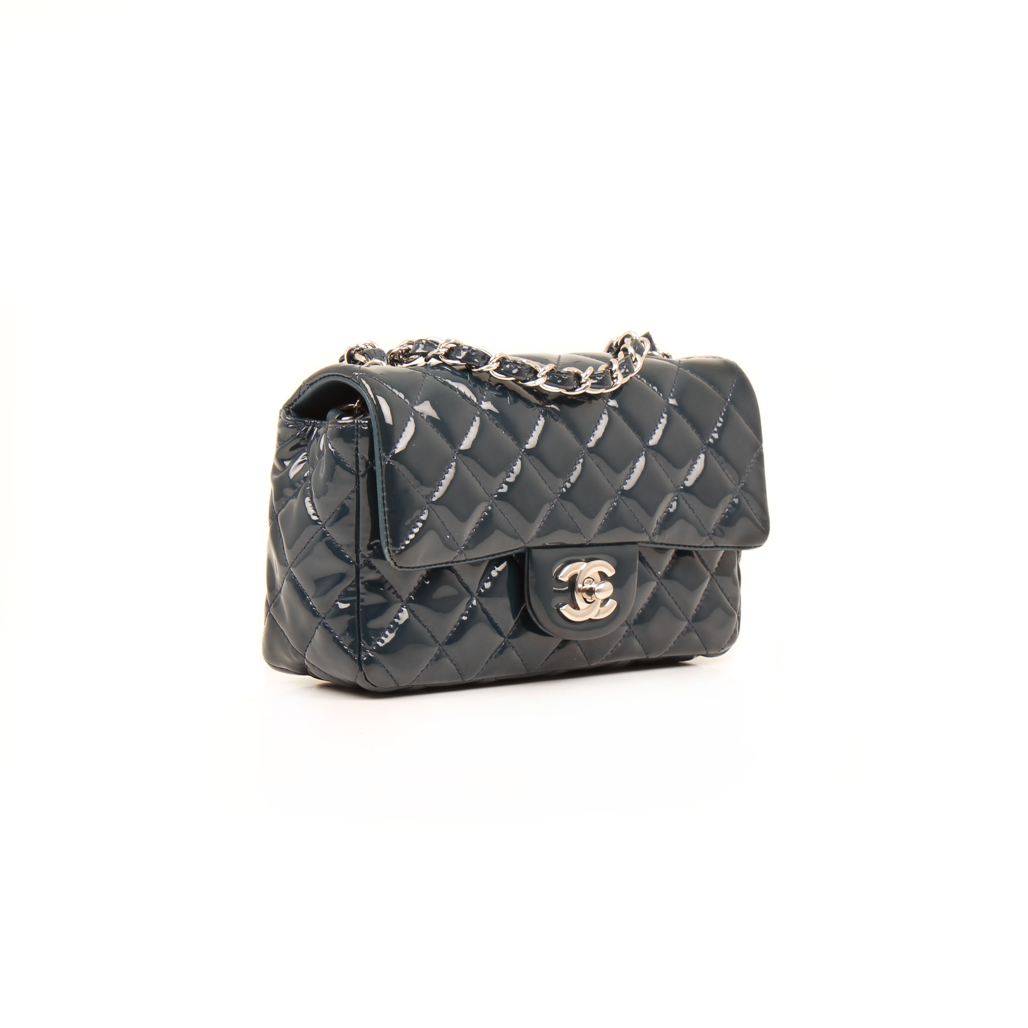 776e83e0c2d2 Chanel Classic Flap Bag Mini Rectangular Patent Navy I CBL Bags