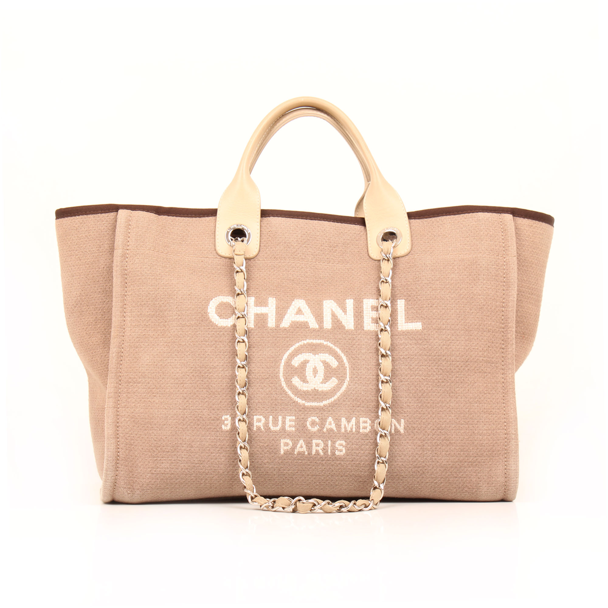 Front image of chanel ecru deauville tote bag